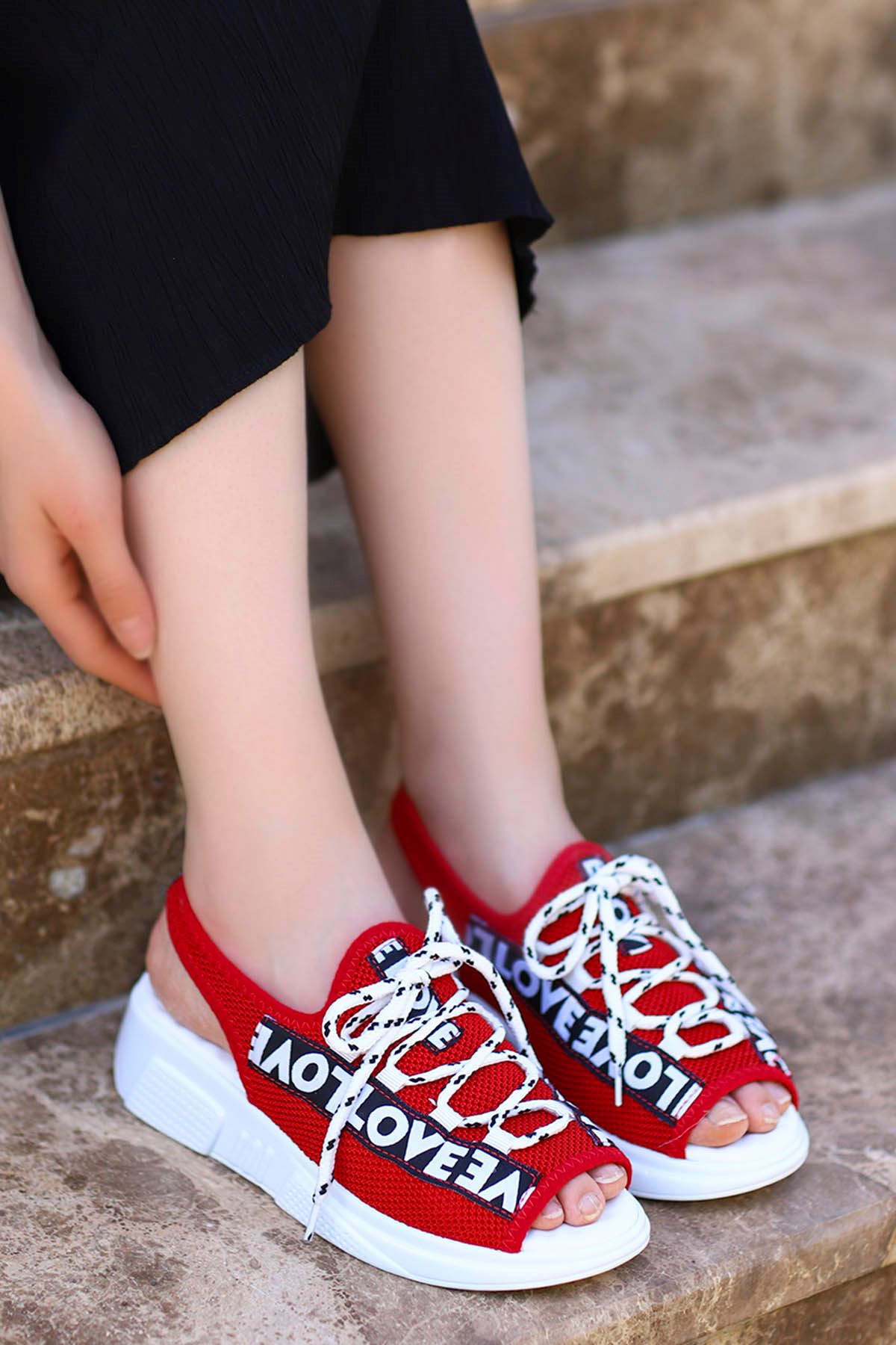 Loves-Triko Sandalet Kırmızı