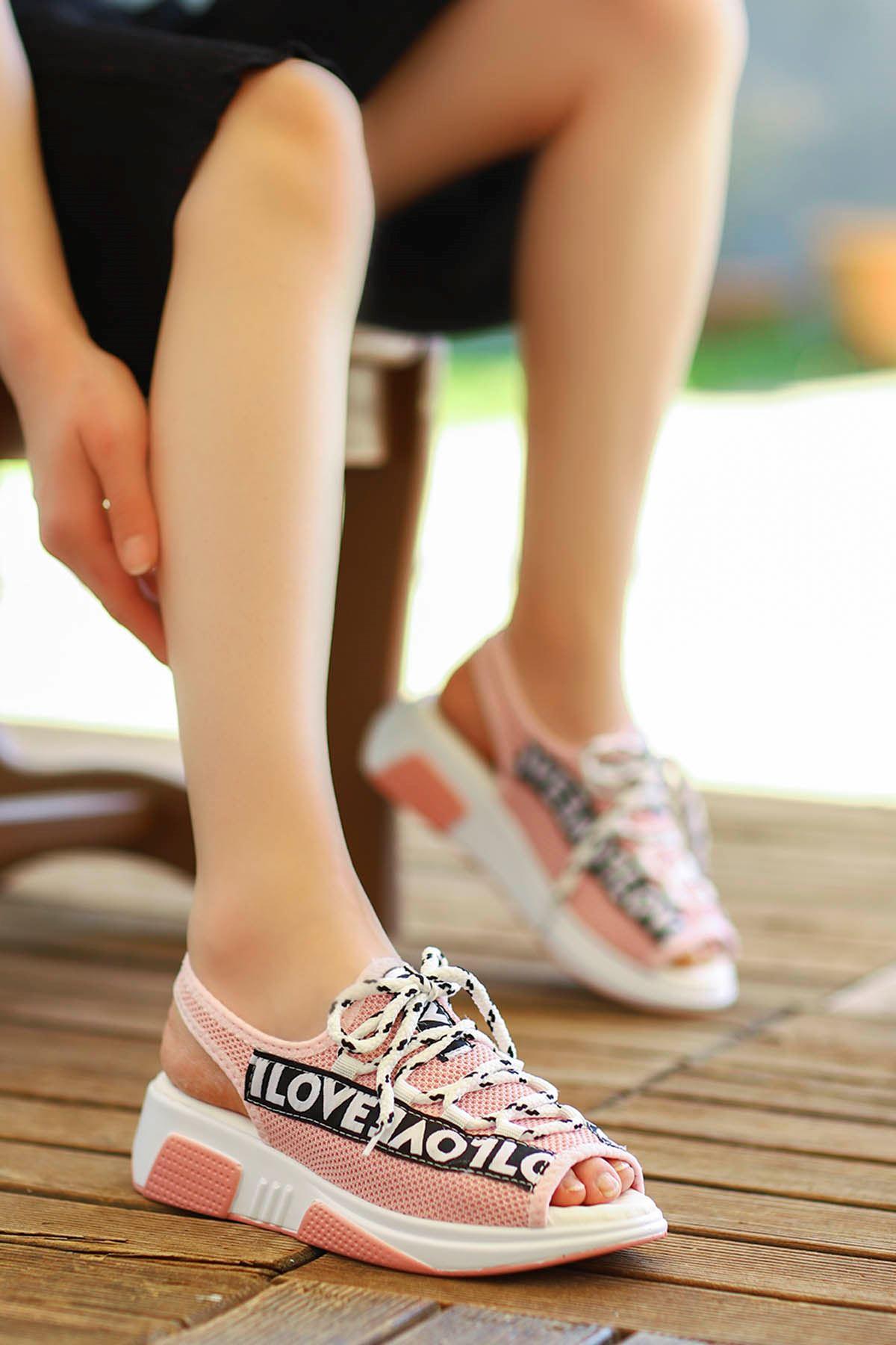 Loves-Triko Sandalet Pudra