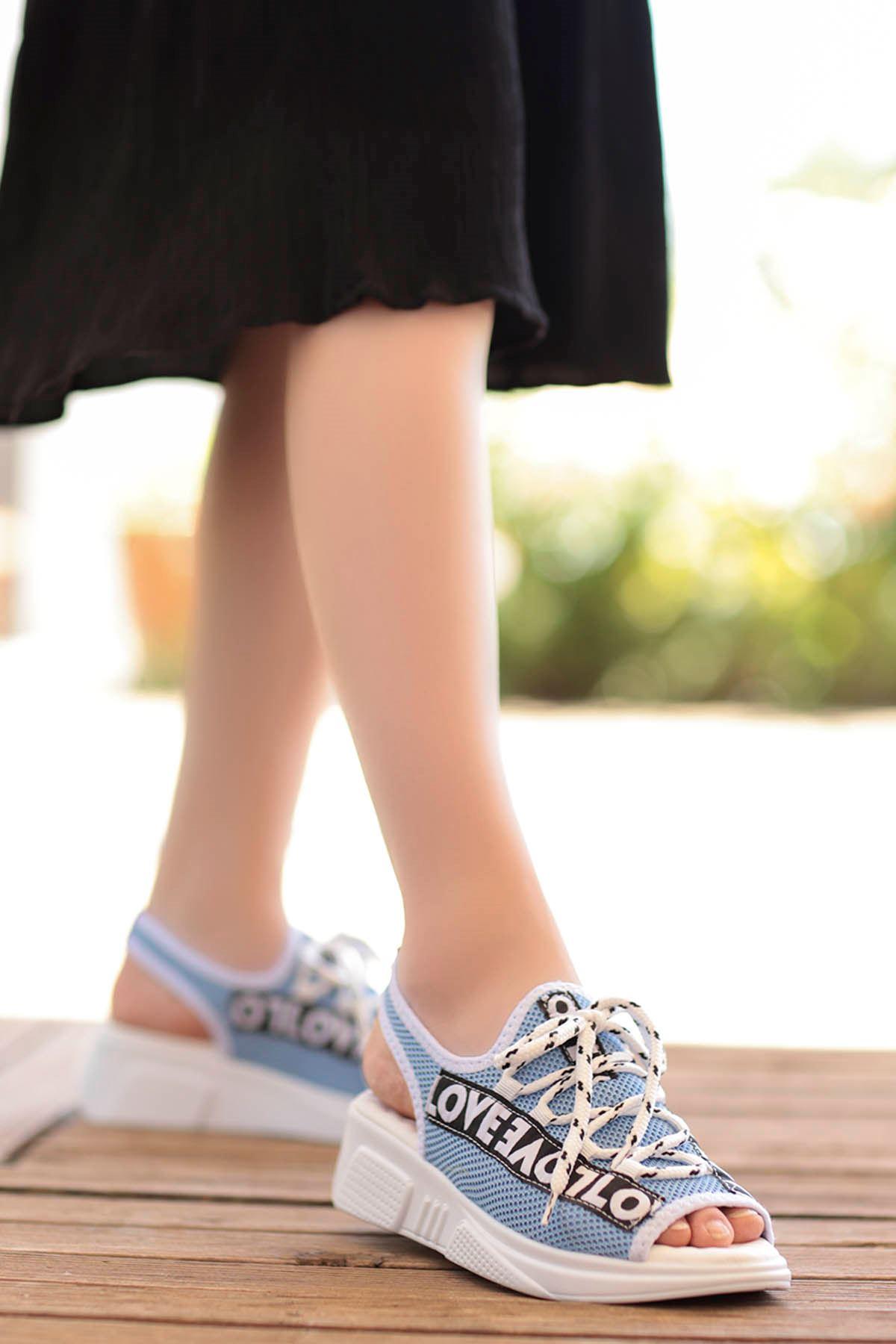 Loves-Triko Sandalet Mavi