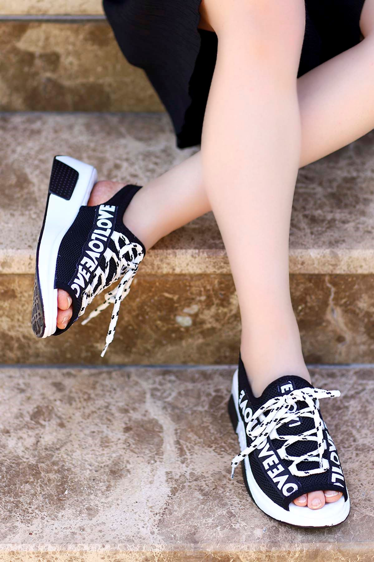 Loves-Triko Sandalet Siyah