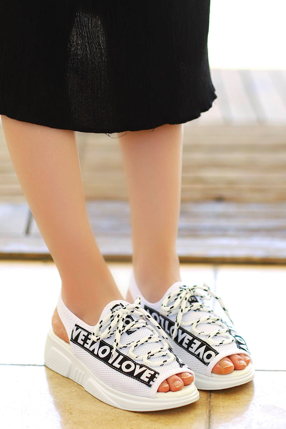 Loves-Triko Sandalet Beyaz