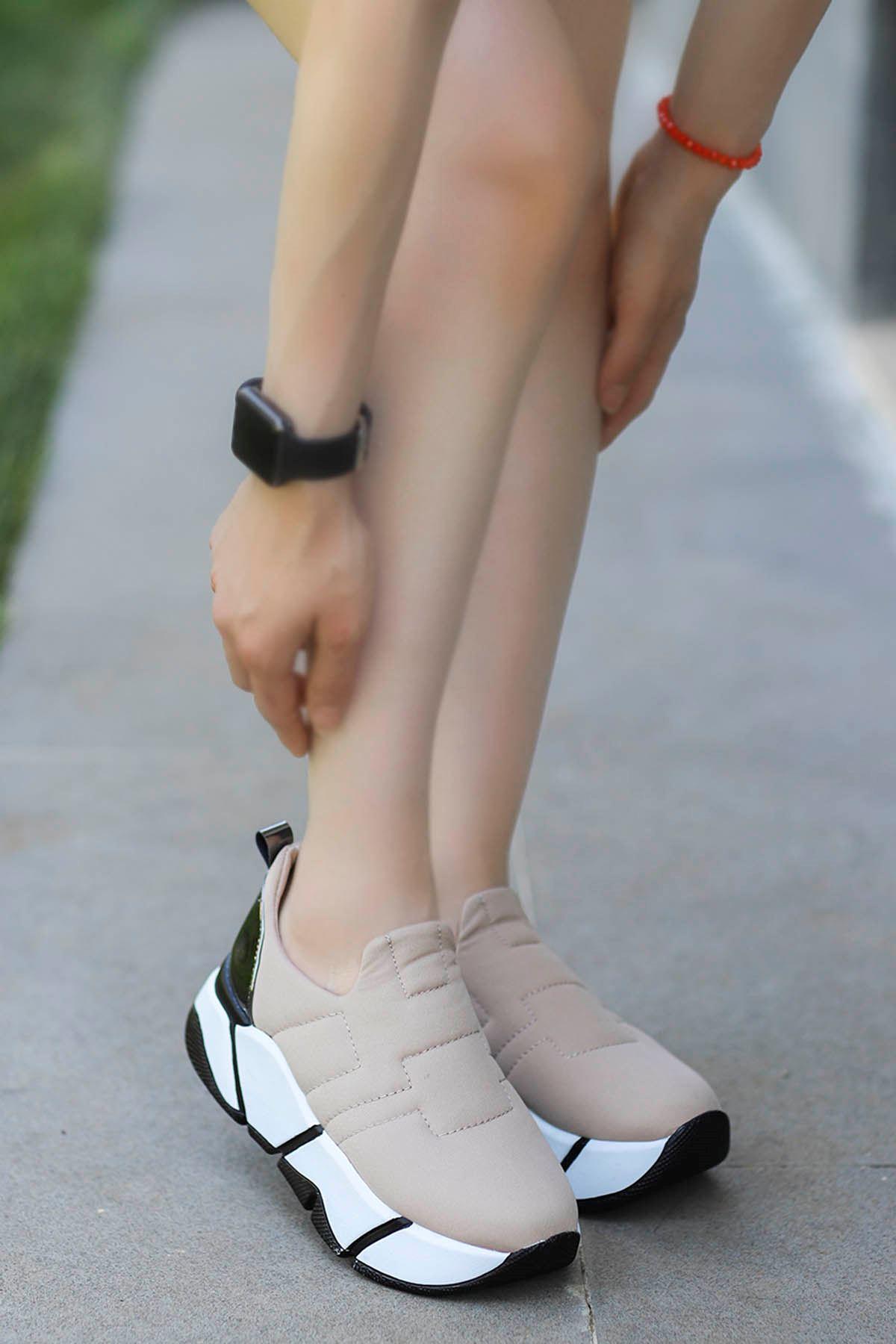 Brown Streç Spor Ayakkabı Krem