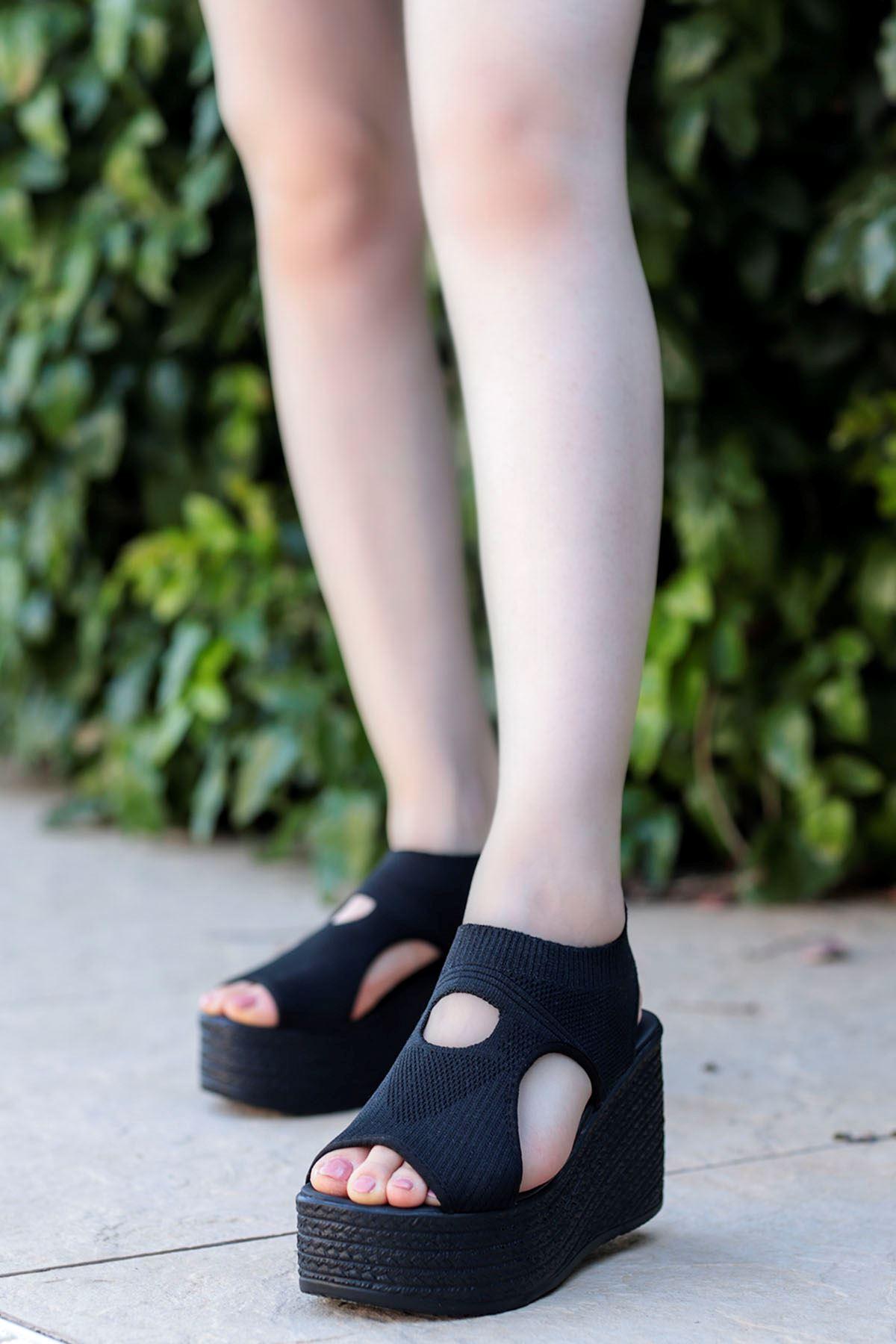 Moli Triko Dolgu Sandalet Full Siyah