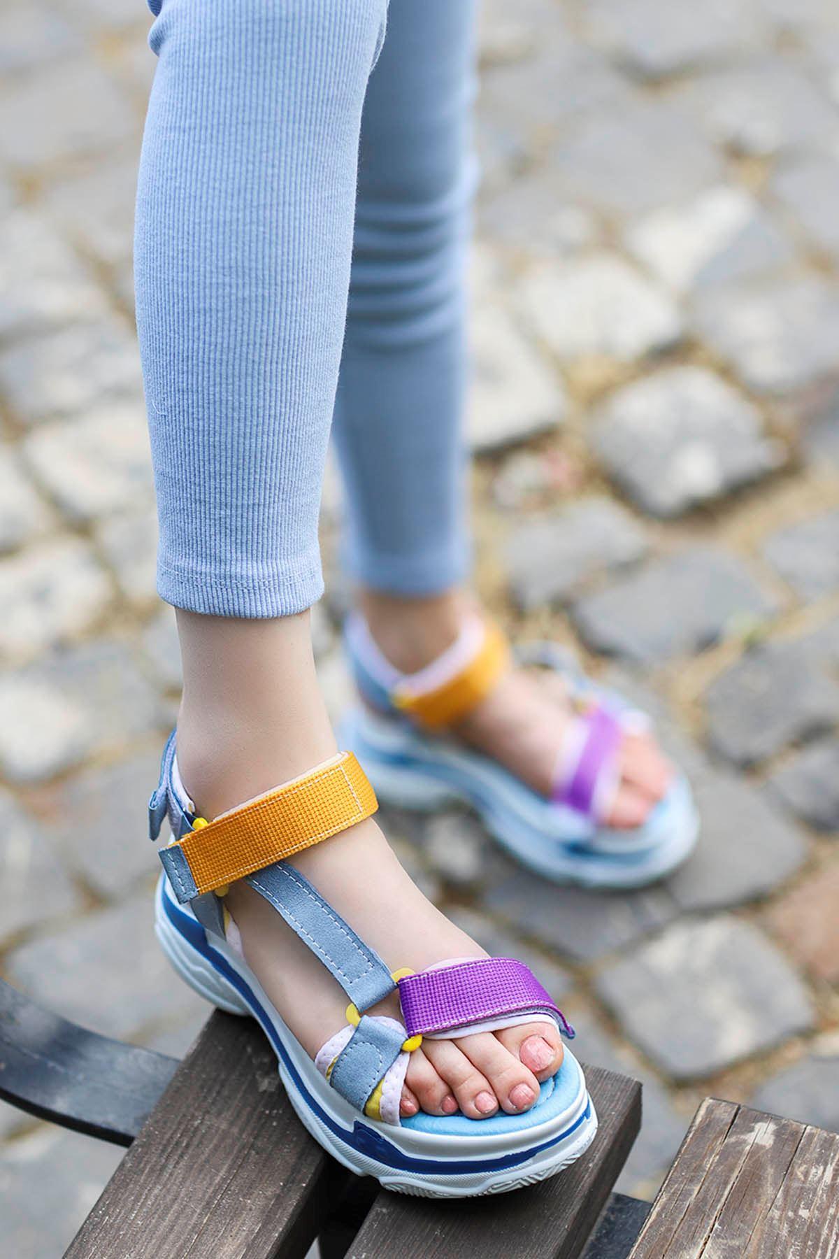 Rafael Dolgu Taban Sandalet Mavi Mor Sarı