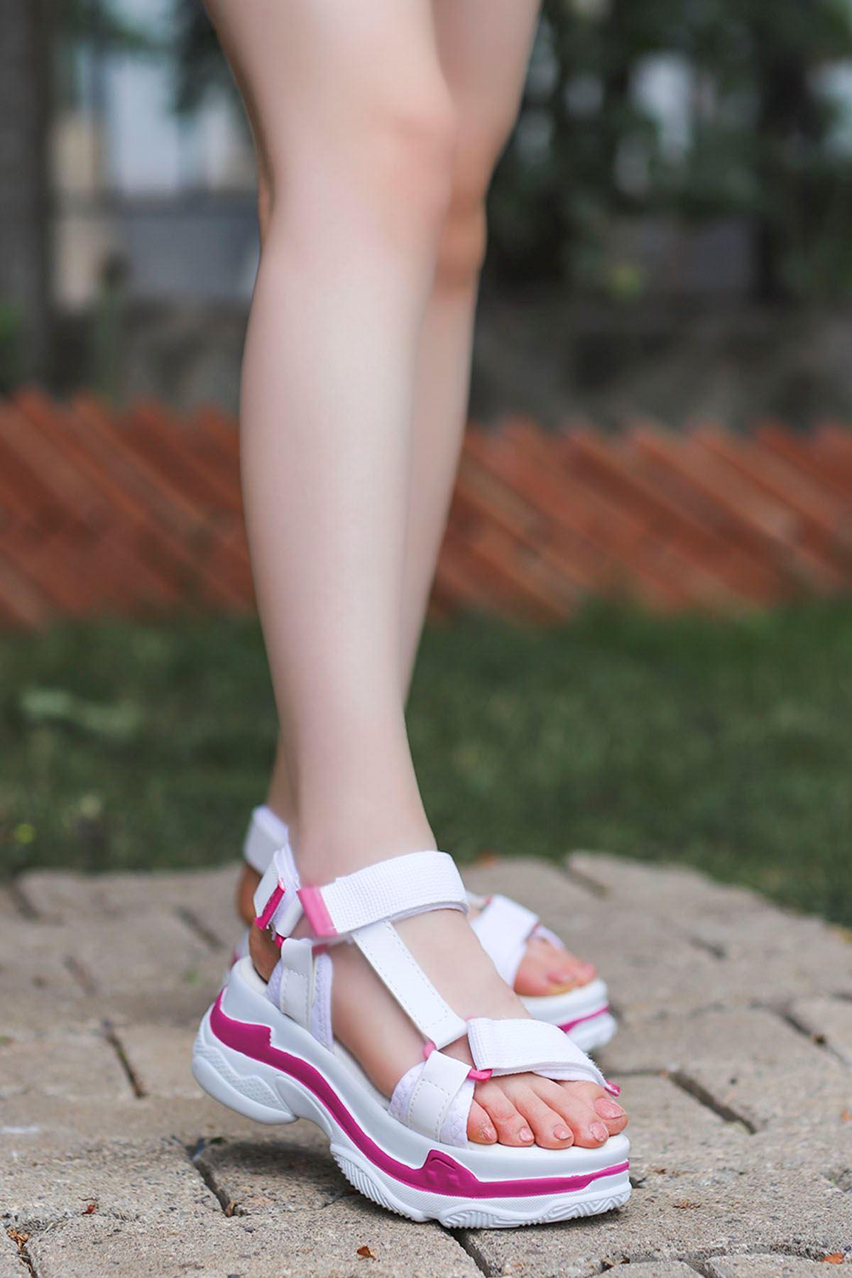 Rafael Dolgu Taban Sandalet Beyaz Pembe