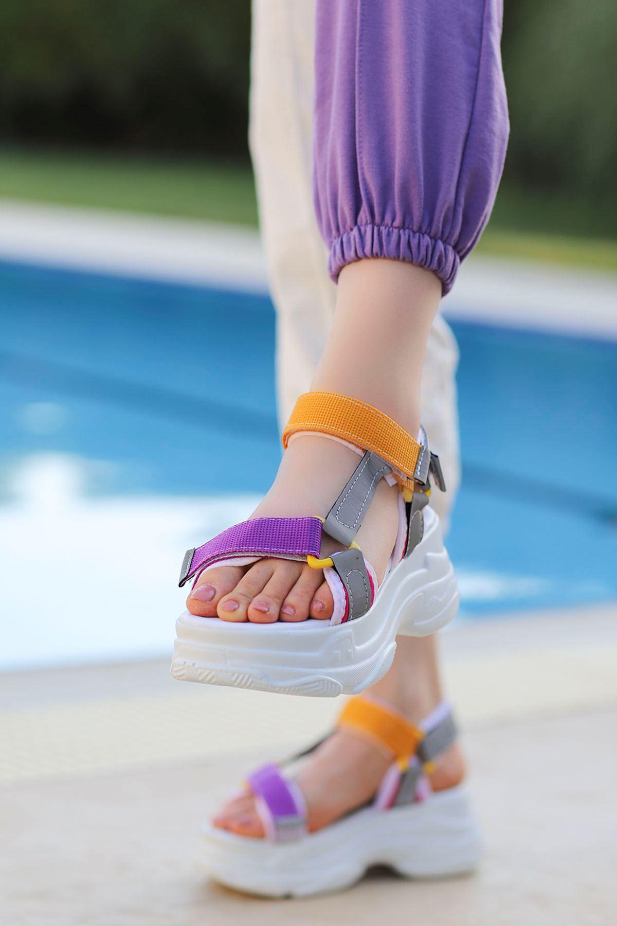 Rafael Dolgu Taban Sandalet Sarı Mor Platin