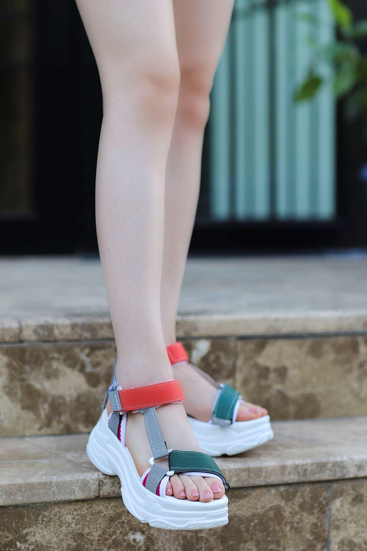 Rafael Dolgu Taban Sandalet Beyaz Yeşil Turuncu