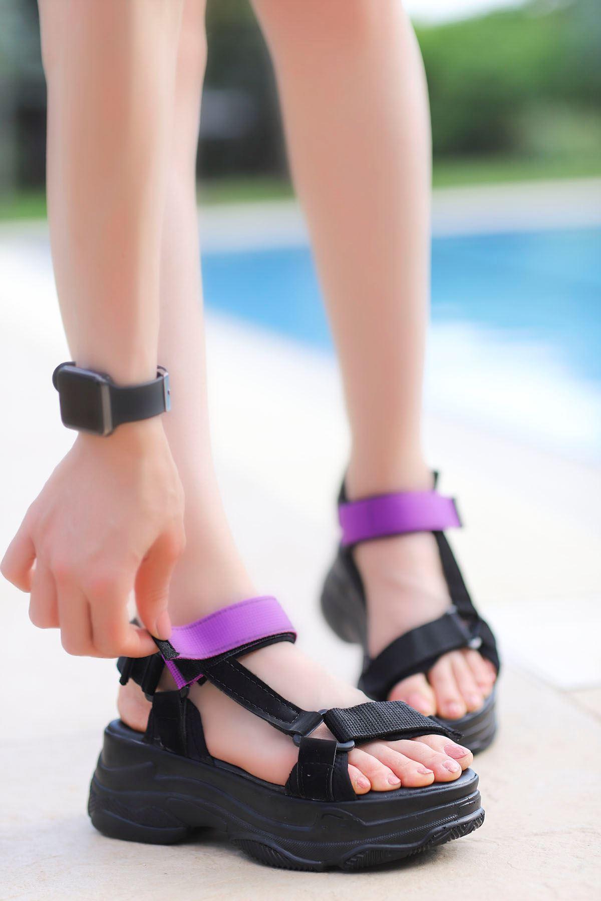 Rafael Dolgu Taban Sandalet Siyah-Mor
