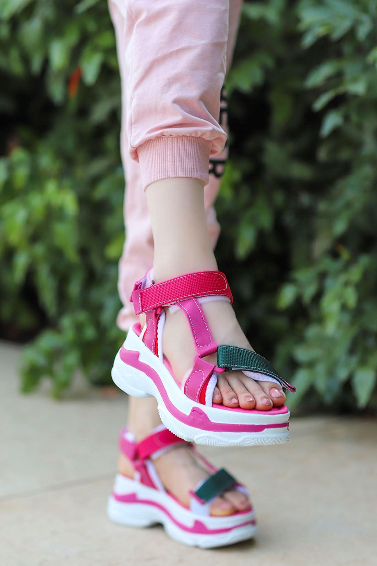 Rafael Dolgu Taban Sandalet Fuşya Yeşil