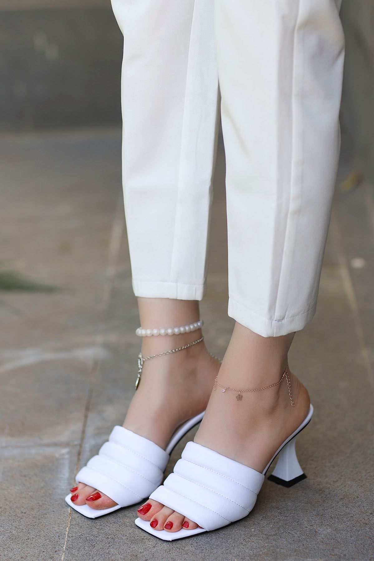 Dafy Topuklu Terlik Beyaz