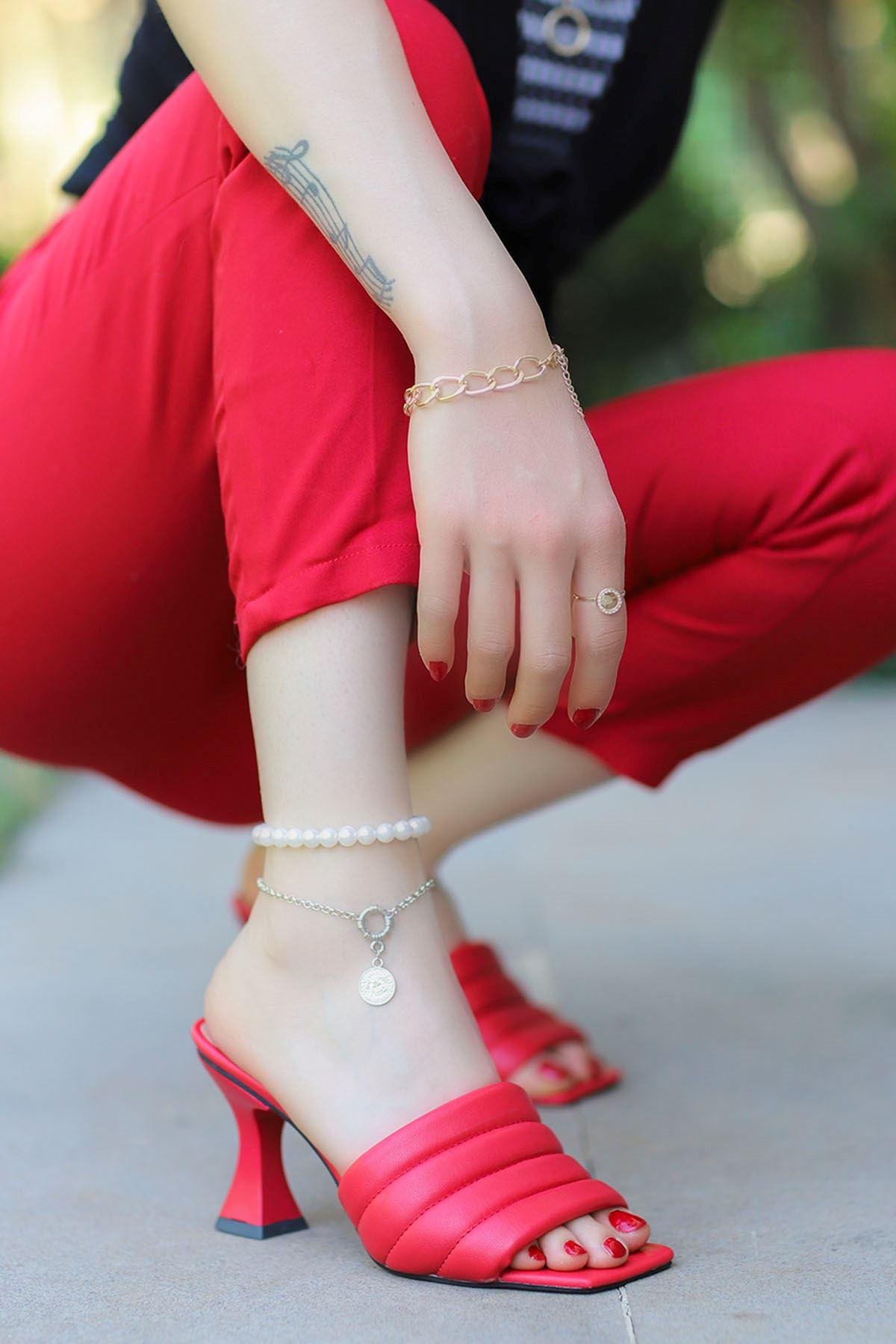 Dafy Topuklu Terlik Kırmızı