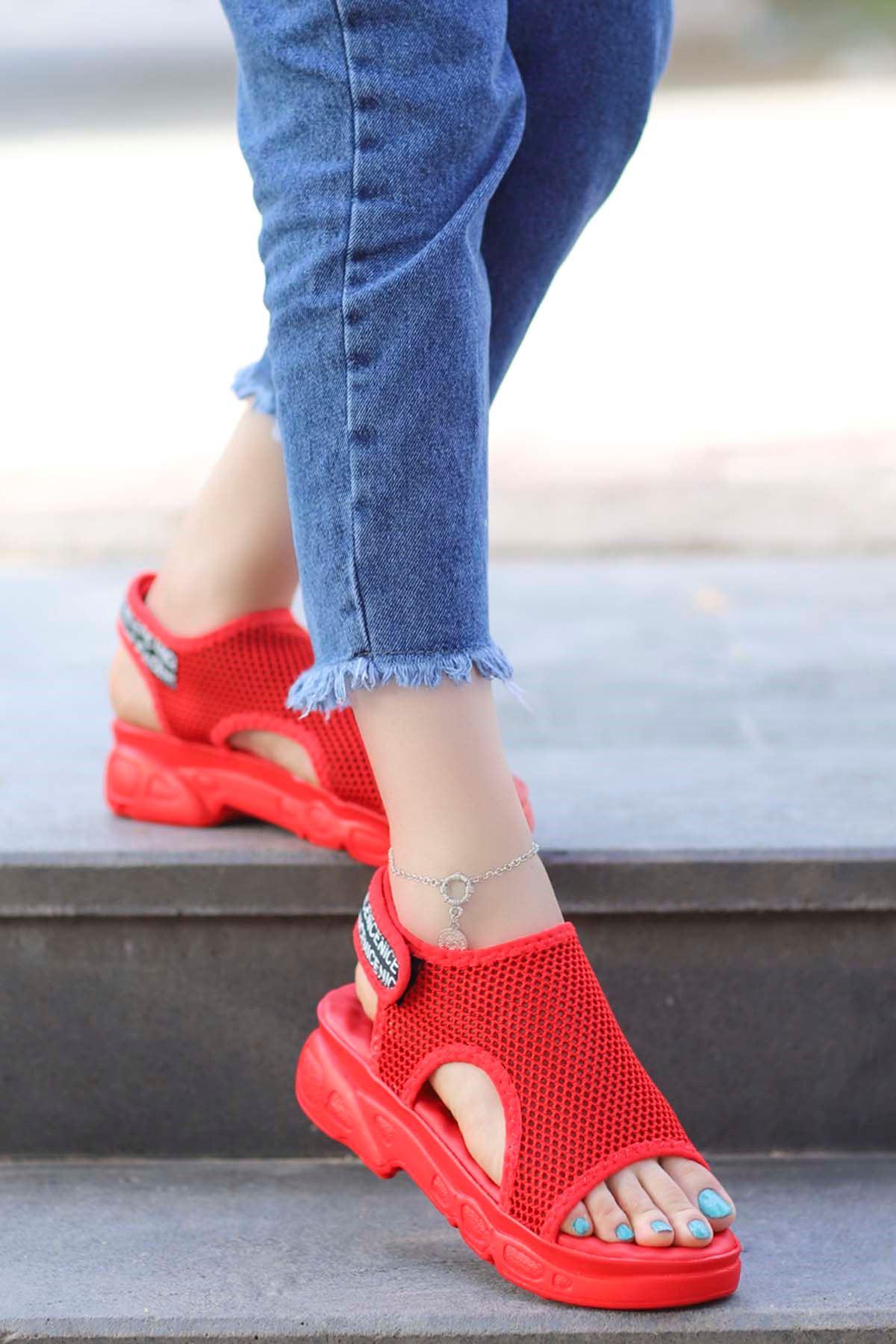 Dubai Cırtlı Triko Sandalet Kırmızı