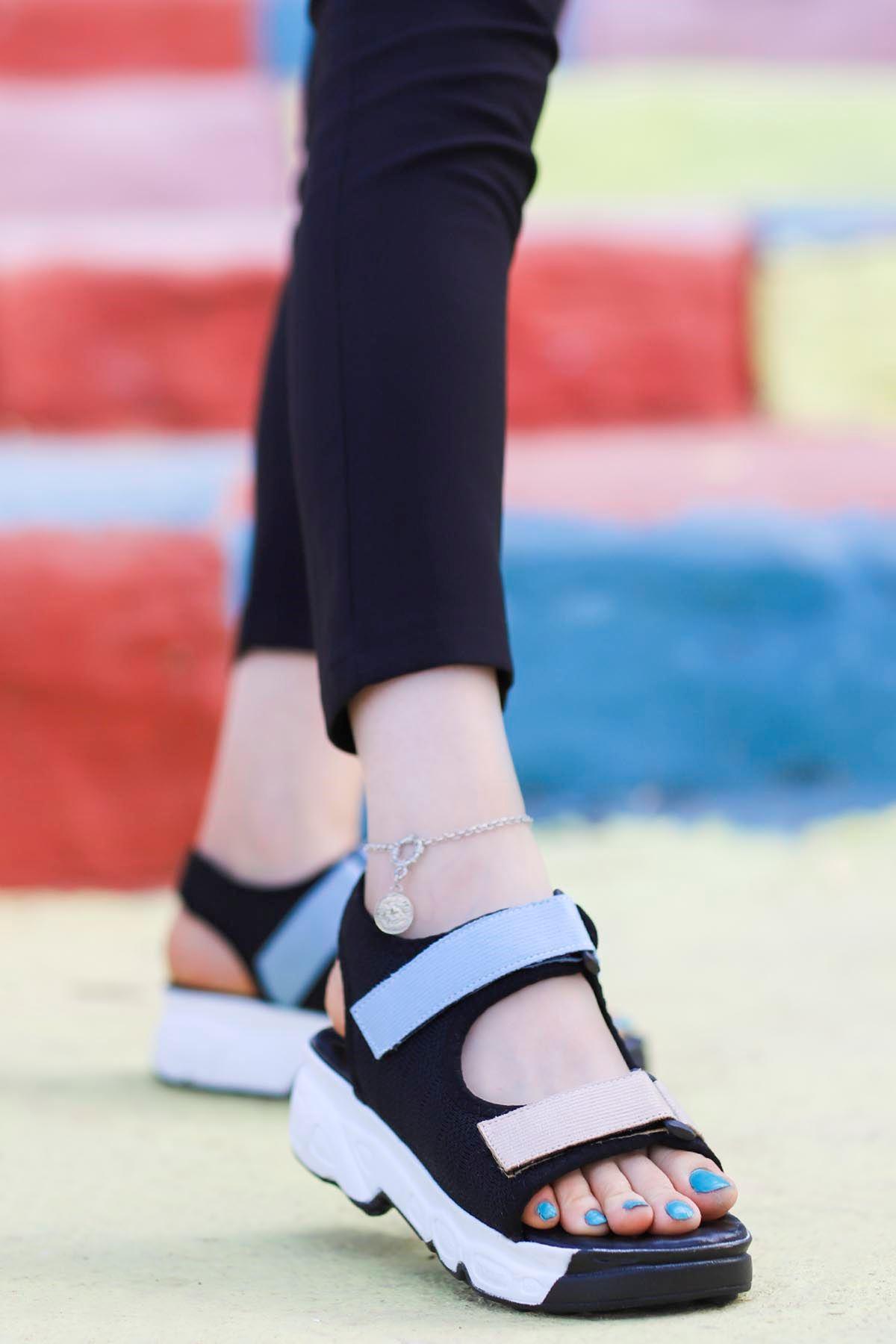 İniesta Çift Bantlı Sandalet Siyah