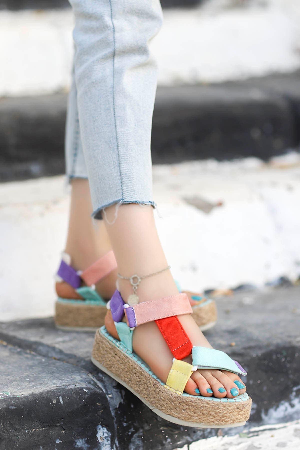 Massara Hasır Taban Sandalet Turuncu Mavi Sarı