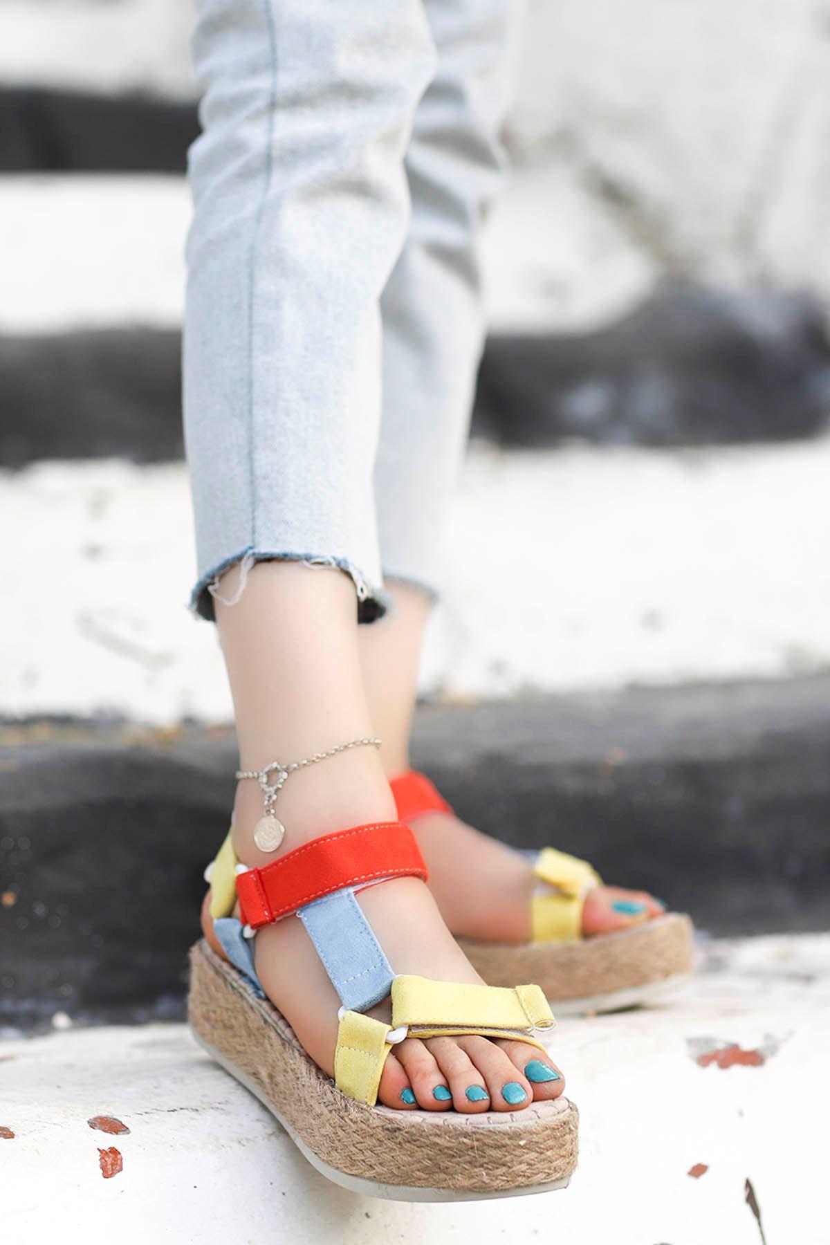 Massara Hasır Taban Sandalet Kırmızı Mavi Sarı