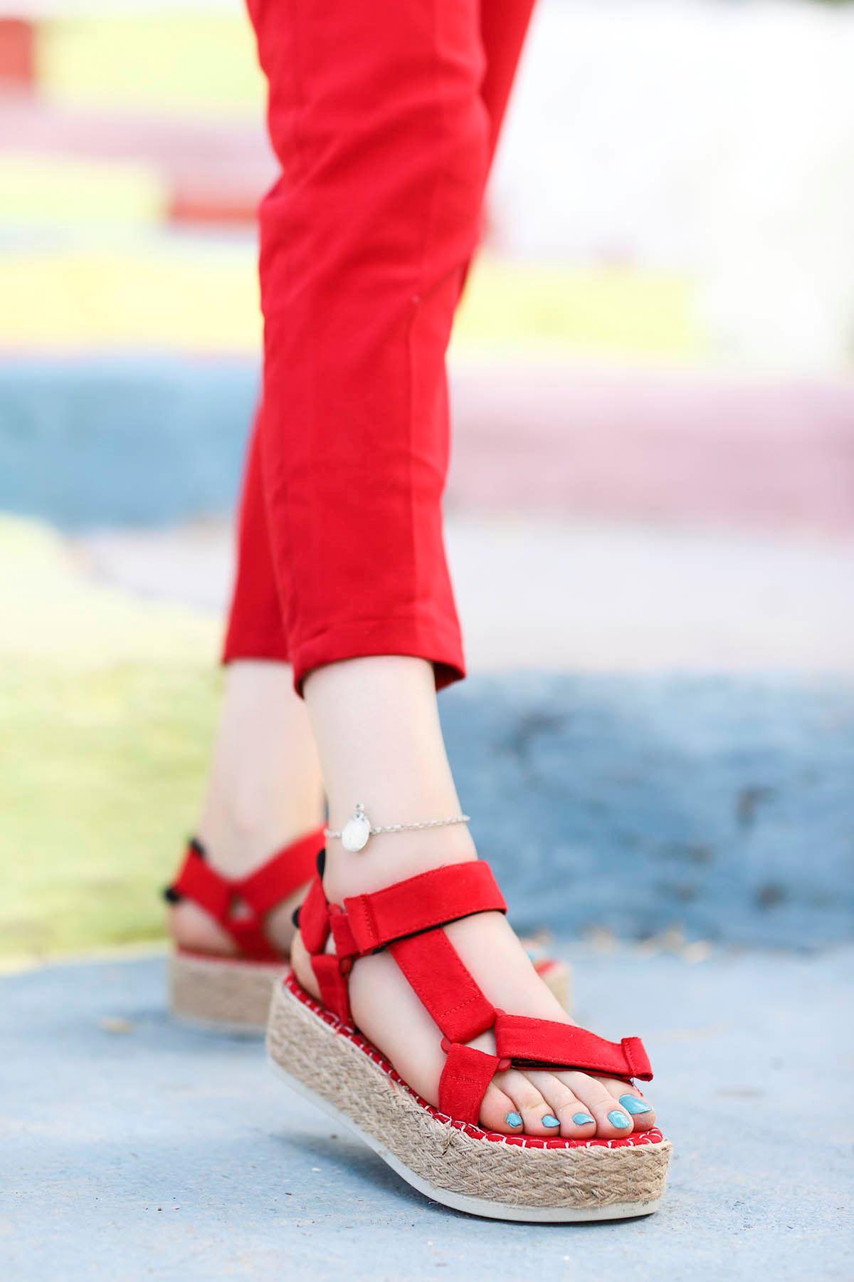 Massara Hasır Taban Sandalet Kırmızı
