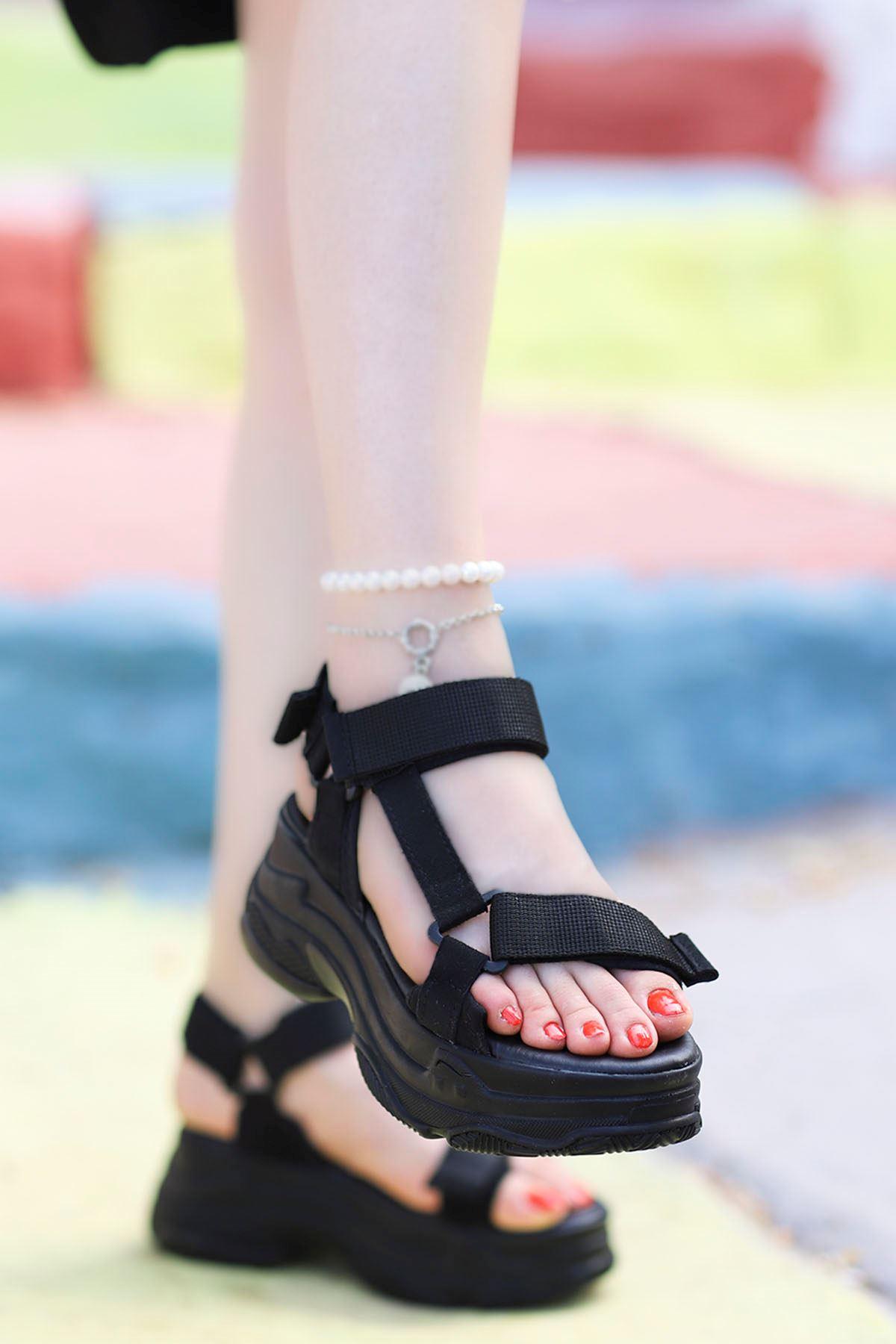 Rafael Dolgu Taban Sandalet Siyah