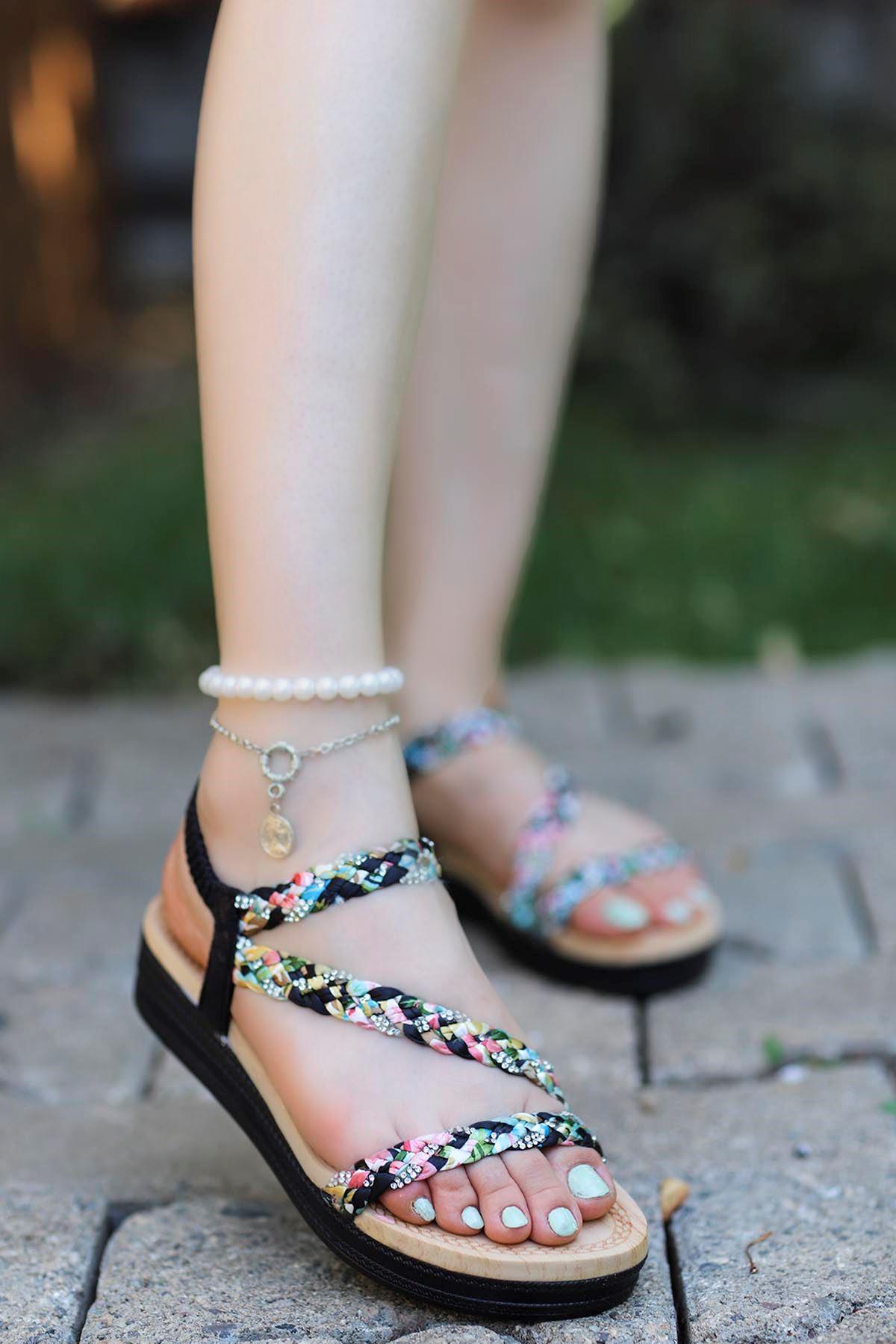Guja Örgülü Taş Detay Sandalet Siyah 20Y170