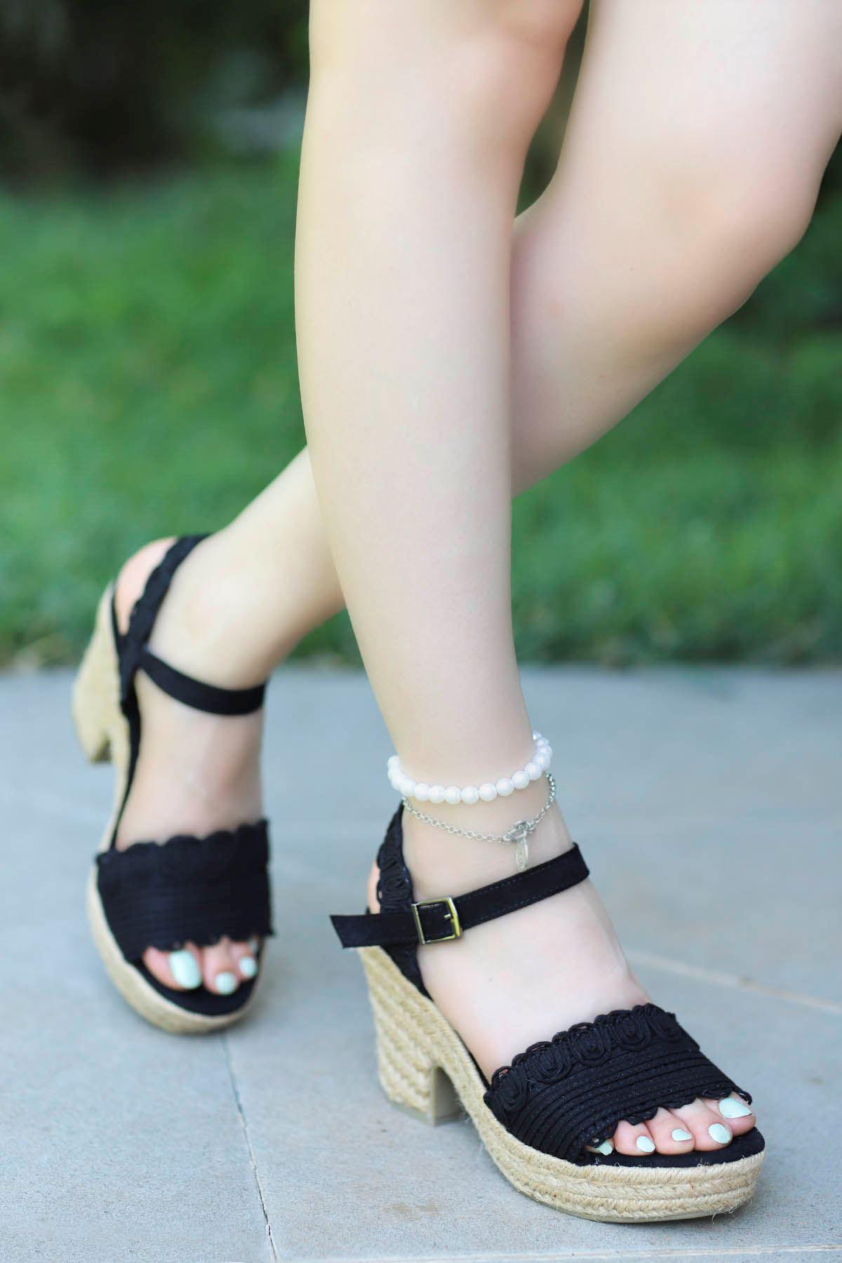 Guja Hasır Taban Sandalet Siyah 20Y241-1