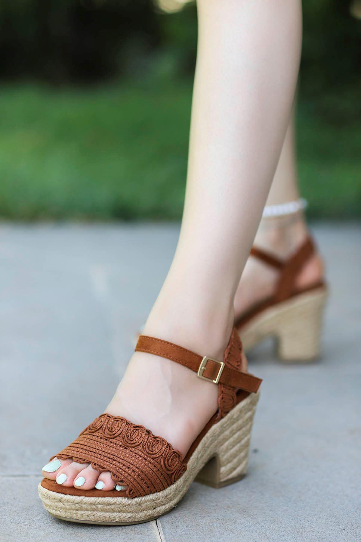 Guja Hasır Taban Sandalet Taba20Y241-1