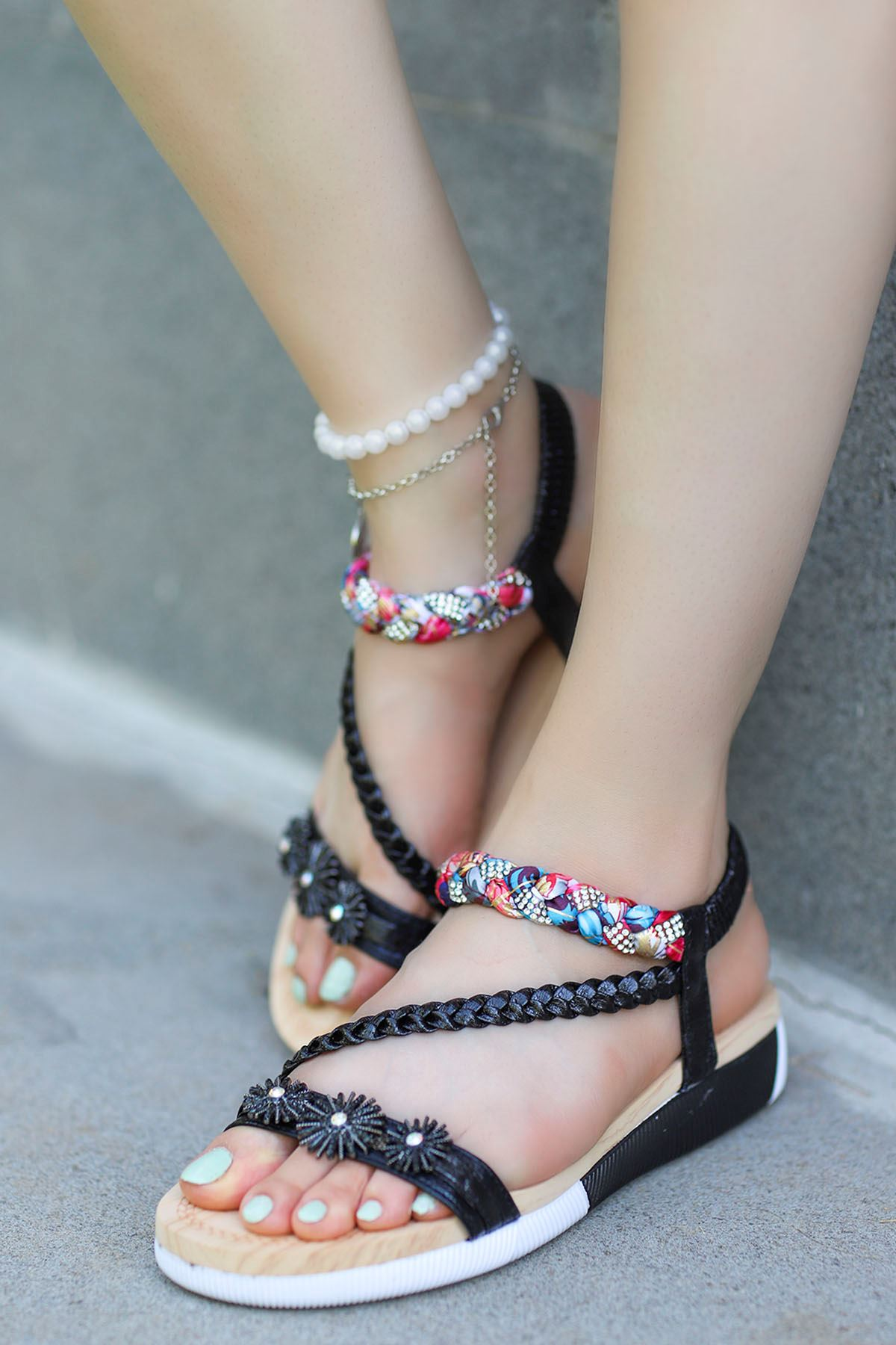 Guja Çiçek Örgü Detay Sandalet Siyah 20Y232-8