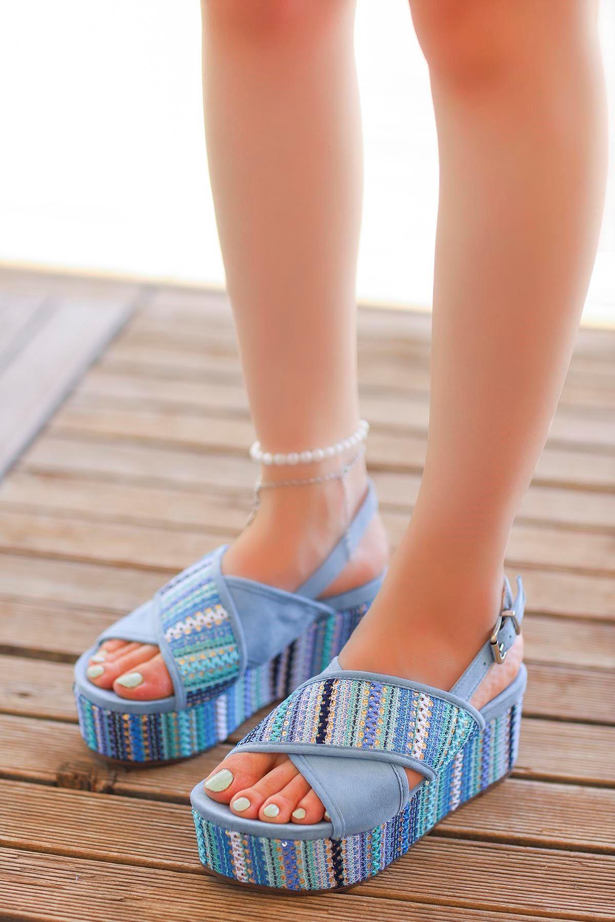 Guja Pul Detay Çapraz Dolgu Taban Sandalet Bebe Mavisi 20Y182