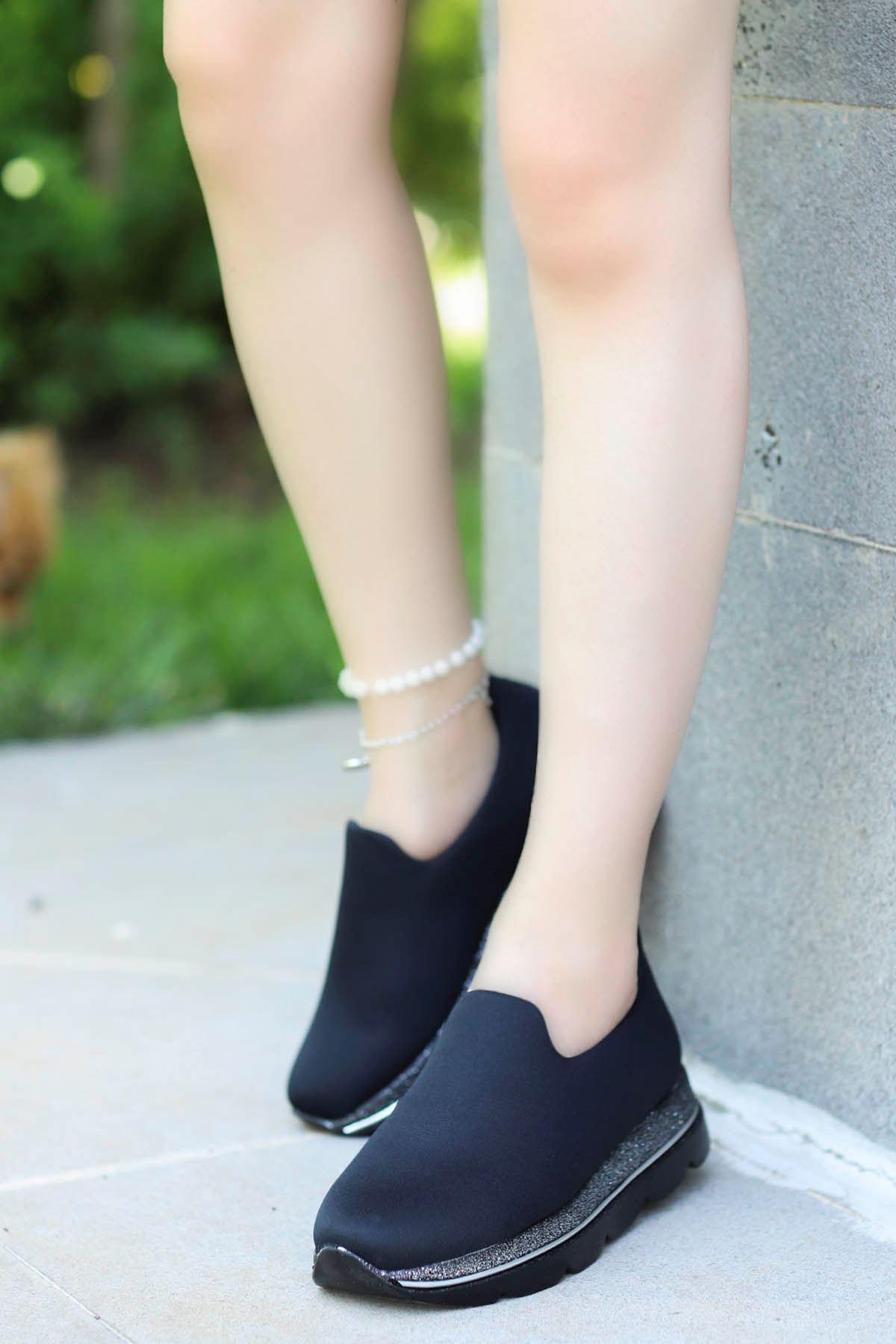 Frast Streç Spor Ayakkabı Siyah