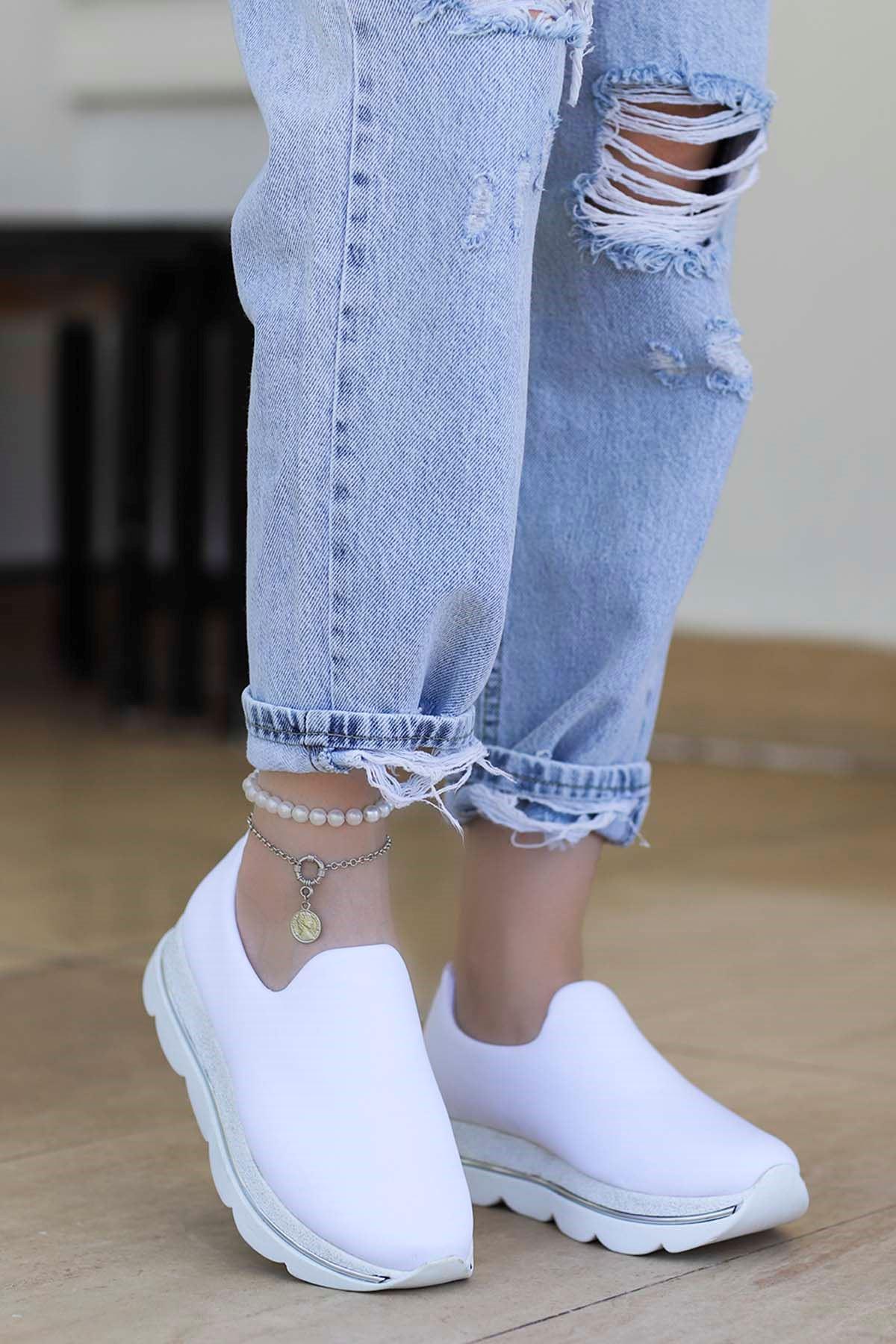 Frast Streç Spor Ayakkabı Beyaz