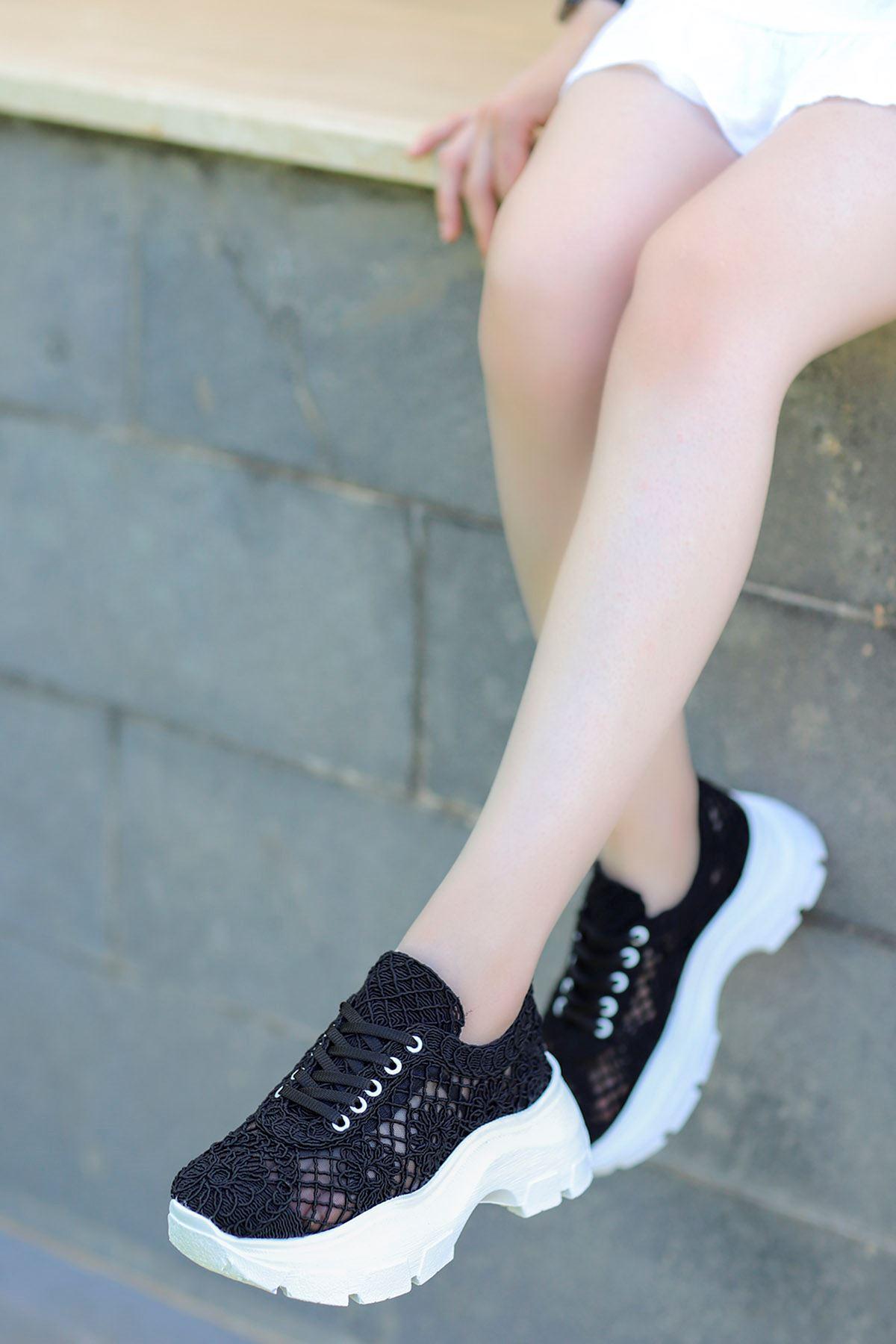 Rayne Dantel Örgü Spor Ayakkabı Siyah