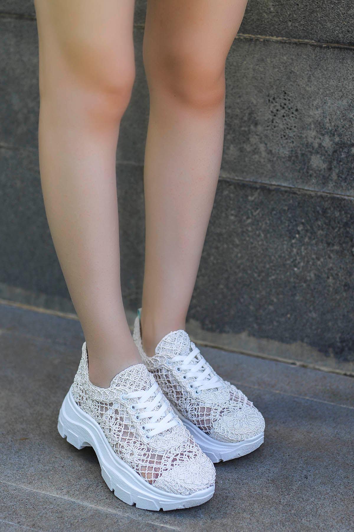 Rayne Dantel Örgü Spor Ayakkabı Beyaz