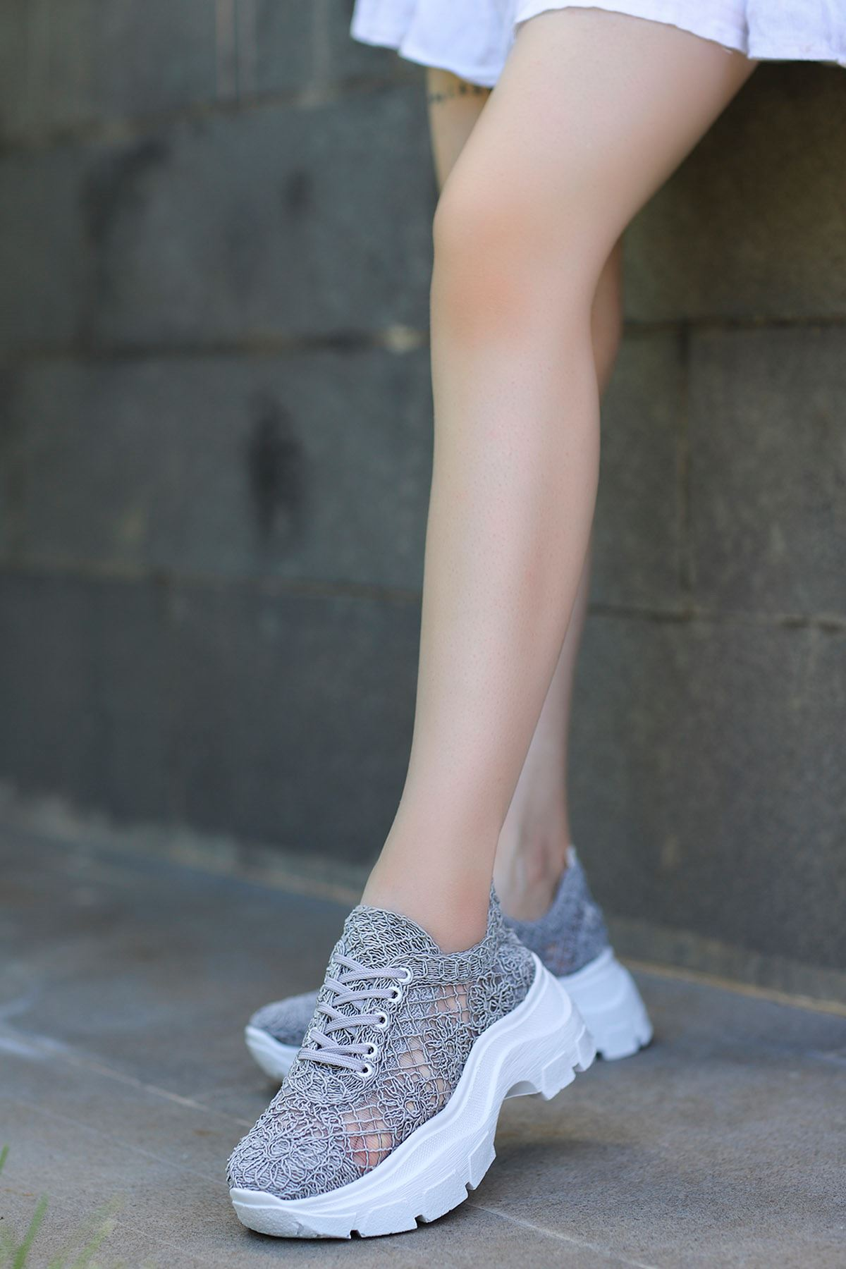 Rayne Dantel Örgü Spor Ayakkabı Gri