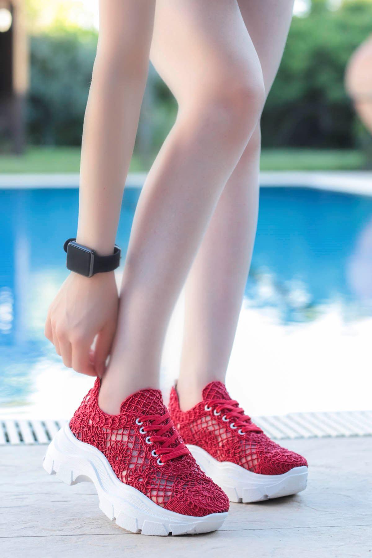 Rayne Dantel Örgü Spor Ayakkabı Kırmızı