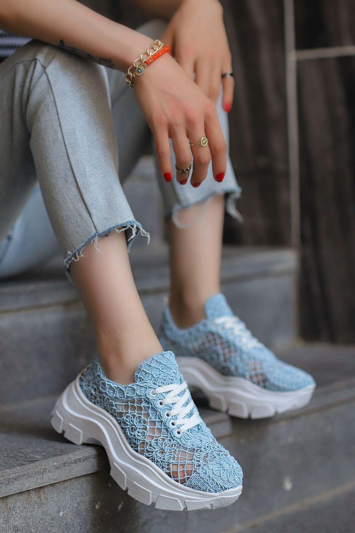 Rayne Dantel Örgü Spor Ayakkabı Mavi