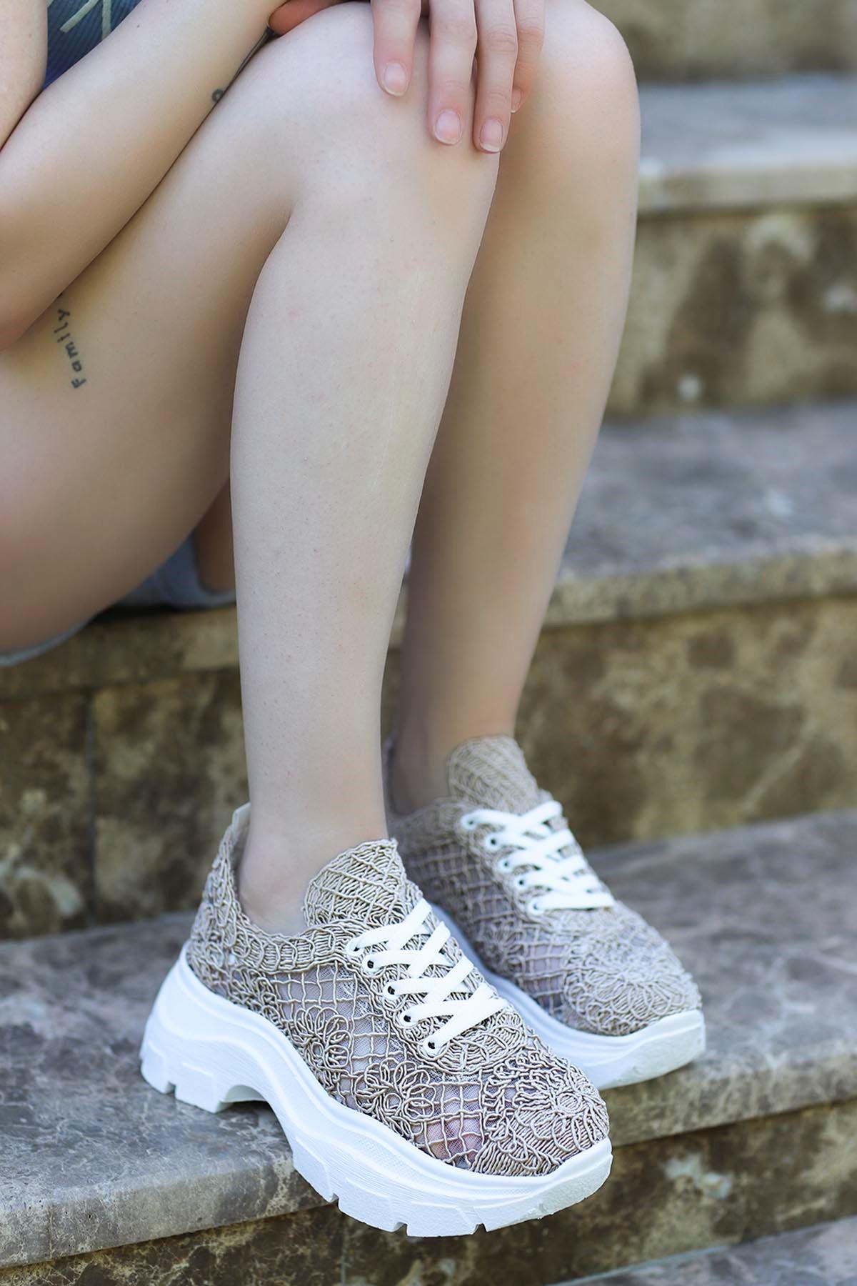 Rayne Dantel Örgü Spor Ayakkabı Nut