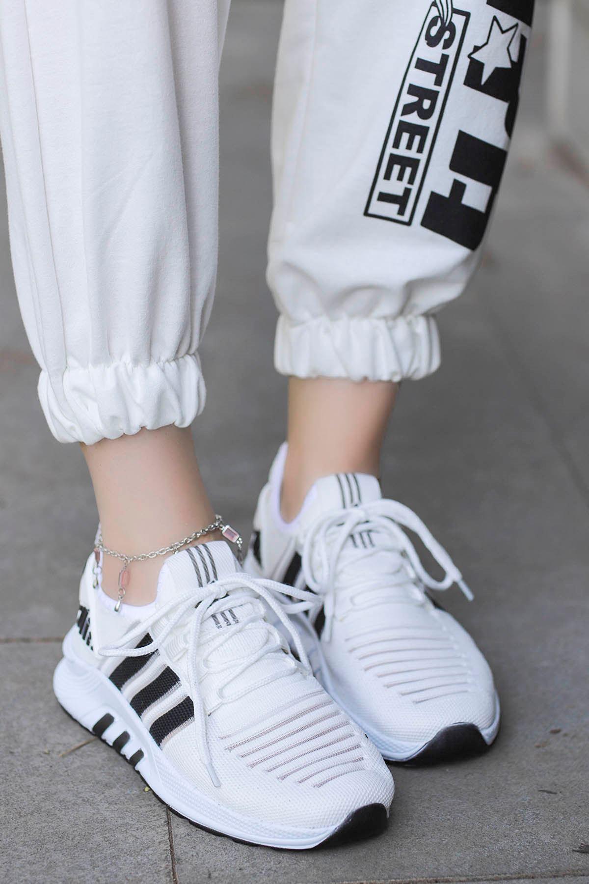 Rumba Çizgi Spor Ayakkabı Beyaz Siyah Detay