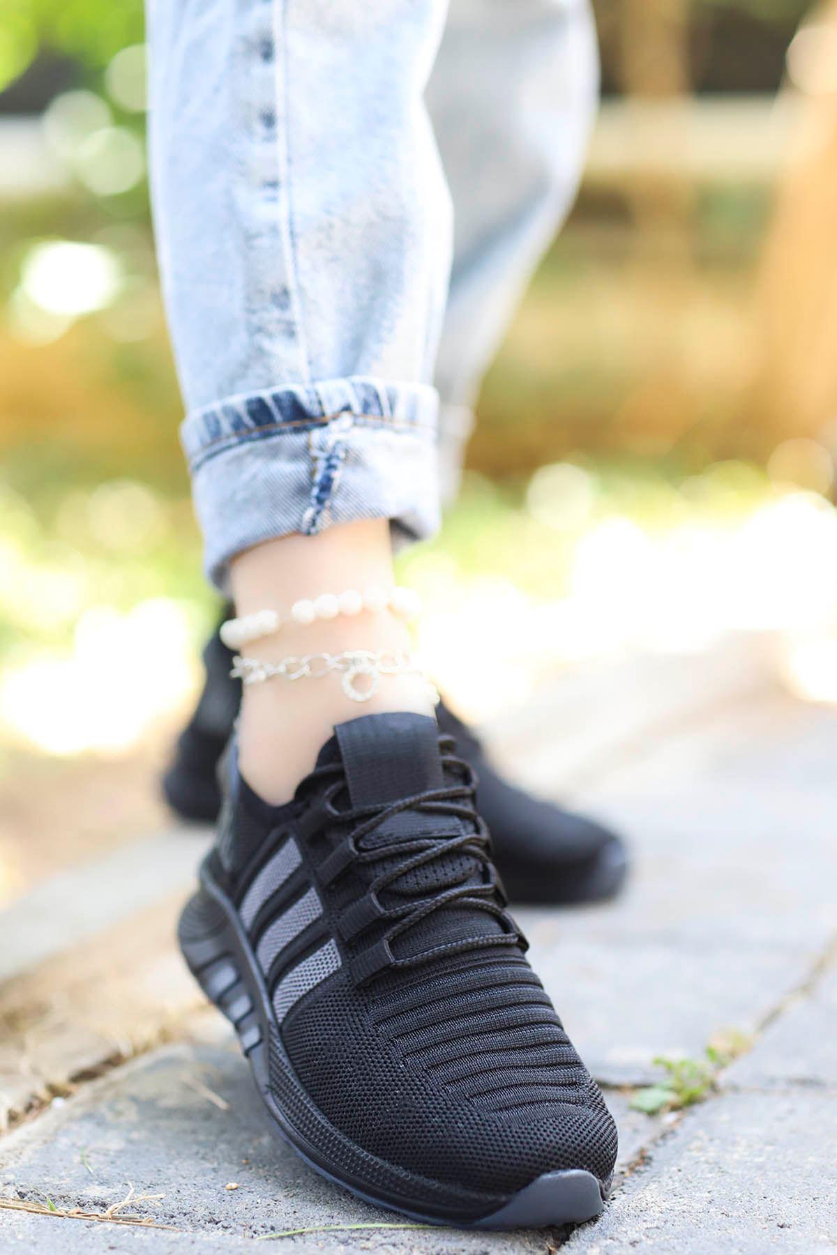 Rumba Çizgi Spor Ayakkabı Ful Siyah