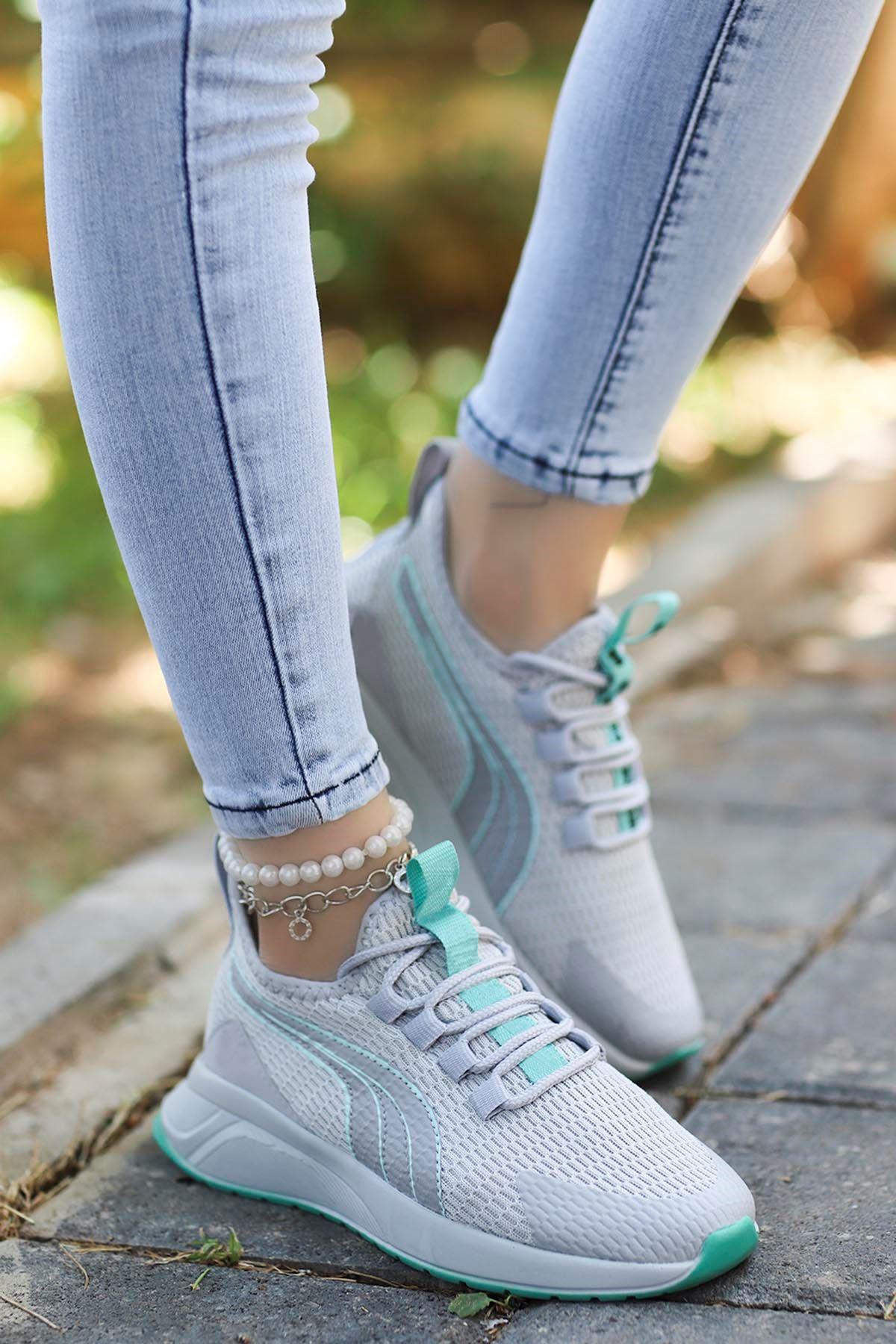 Valeriya File Spor Ayakkabı Gri Yeşil Detay