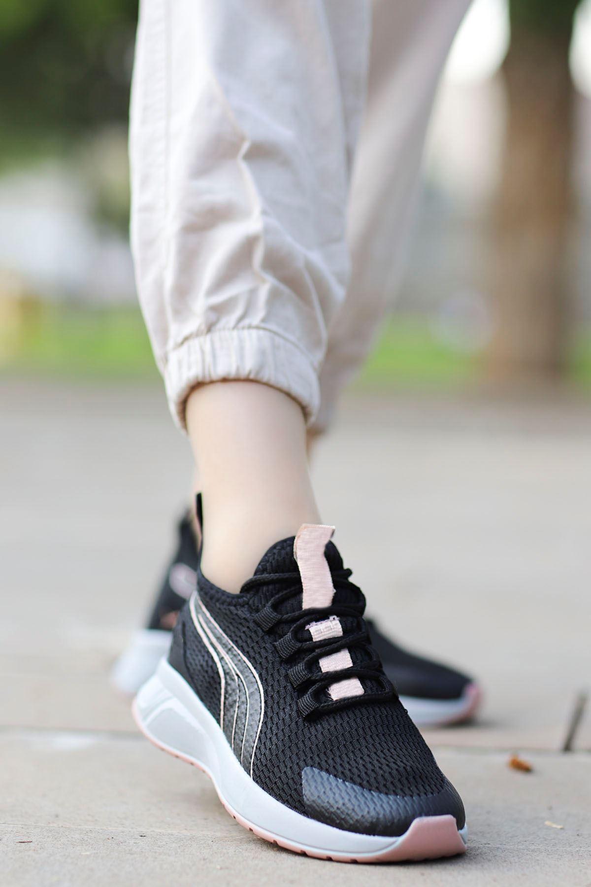 Valeriya File Spor Ayakkabı Siyah Pudra Detay