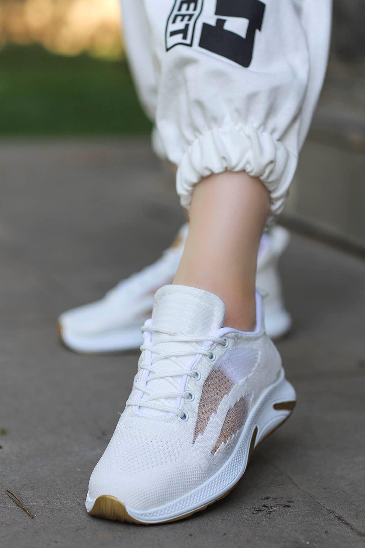 Madonna Yan File Detay Spor Ayakkabı Beyaz Gold Detay