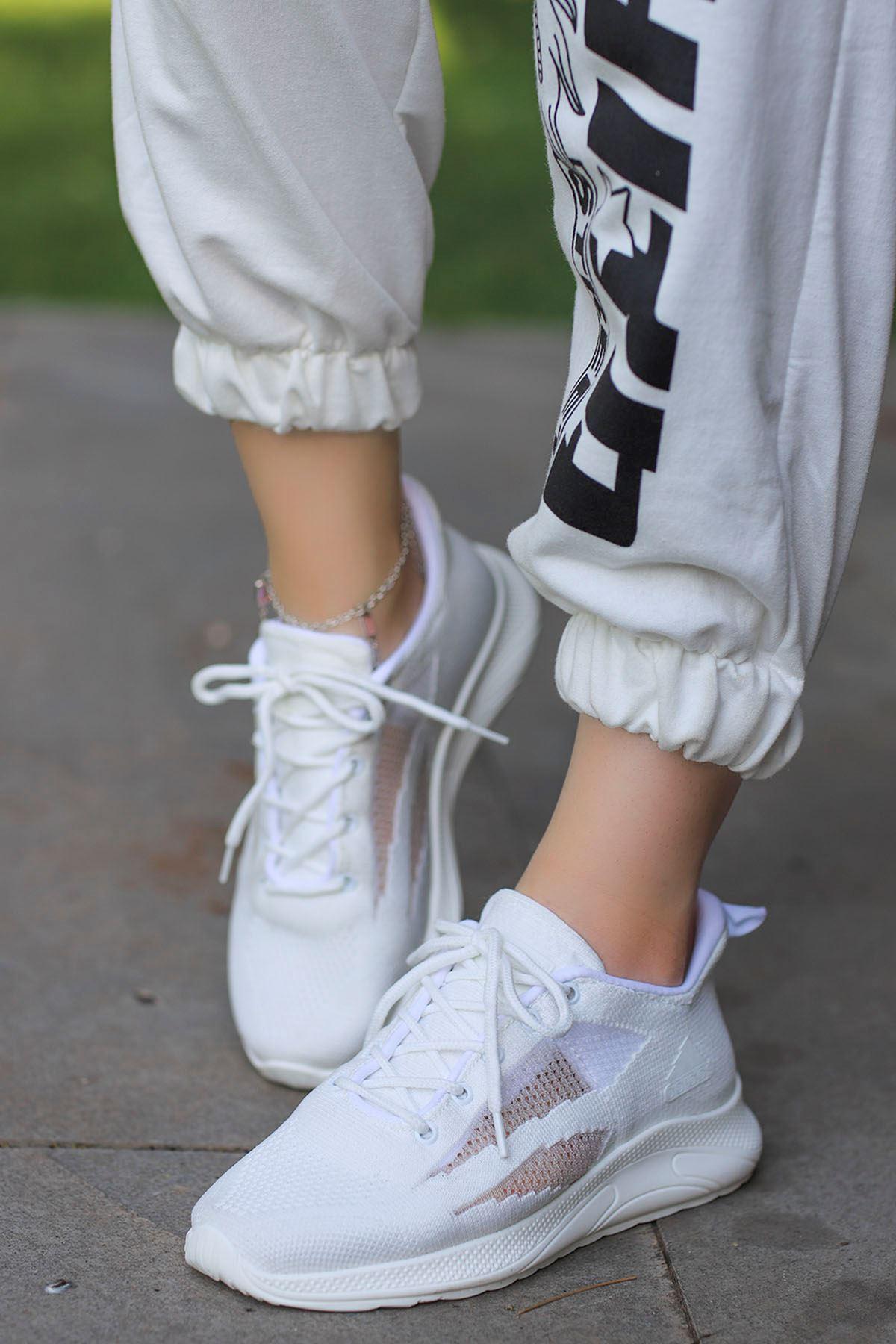 Madonna Yan File Detay Spor Ayakkabı Ful Beyaz