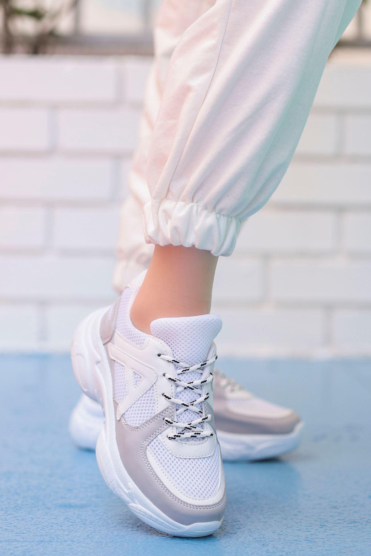 Afra A Detay Spor Ayakkabı Beyaz Gri Detay