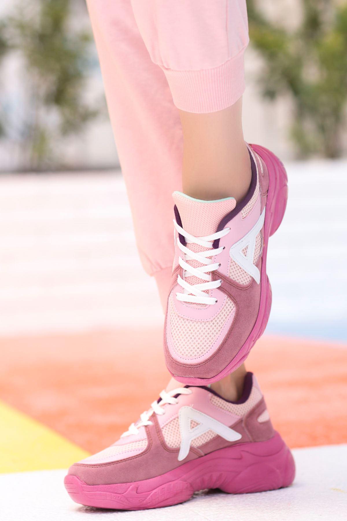Afra A Detay Spor Ayakkabı Pudra Fuşya Detay