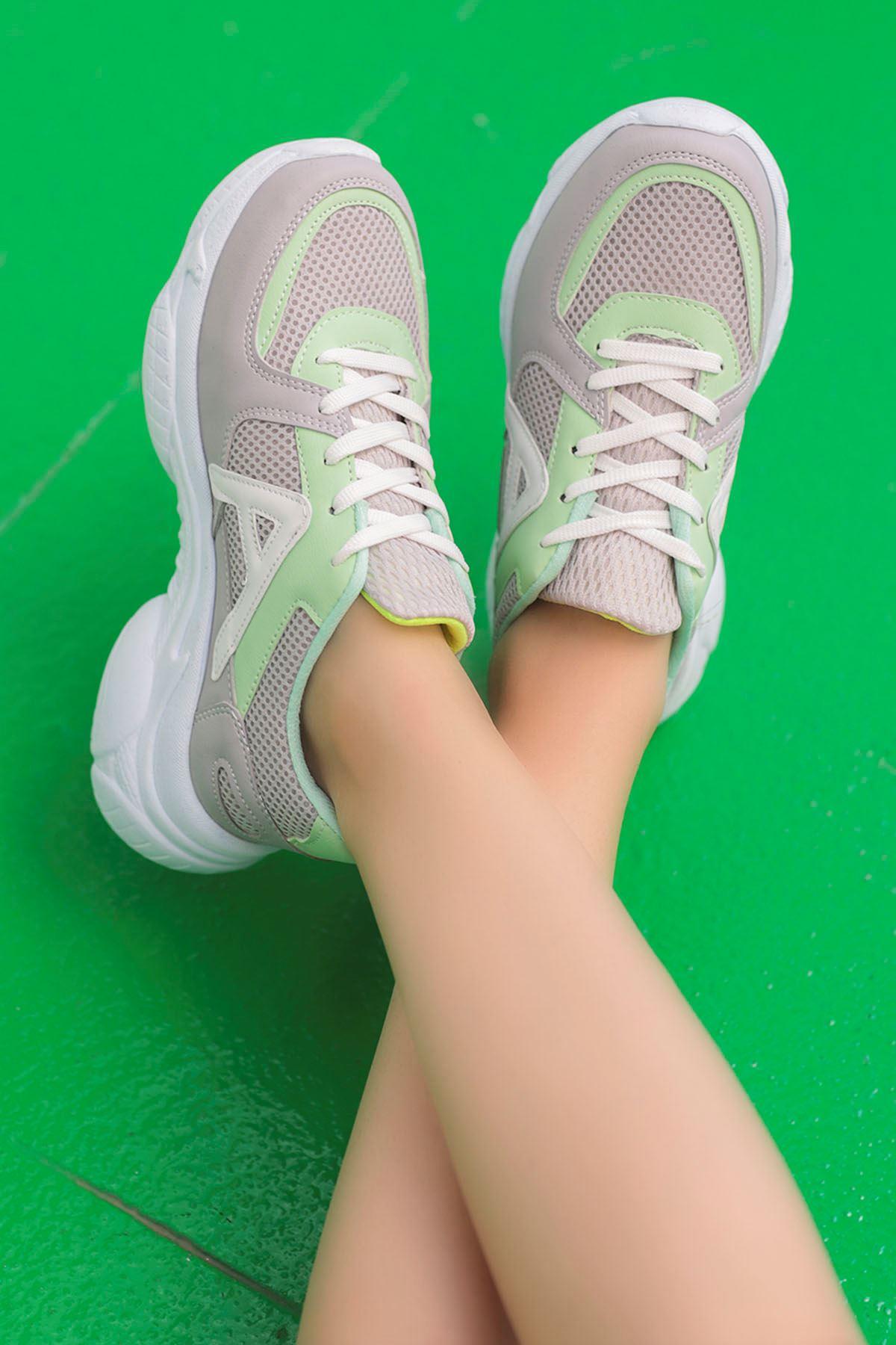 Afra A Detay Spor Ayakkabı Gri Yeşil Detay