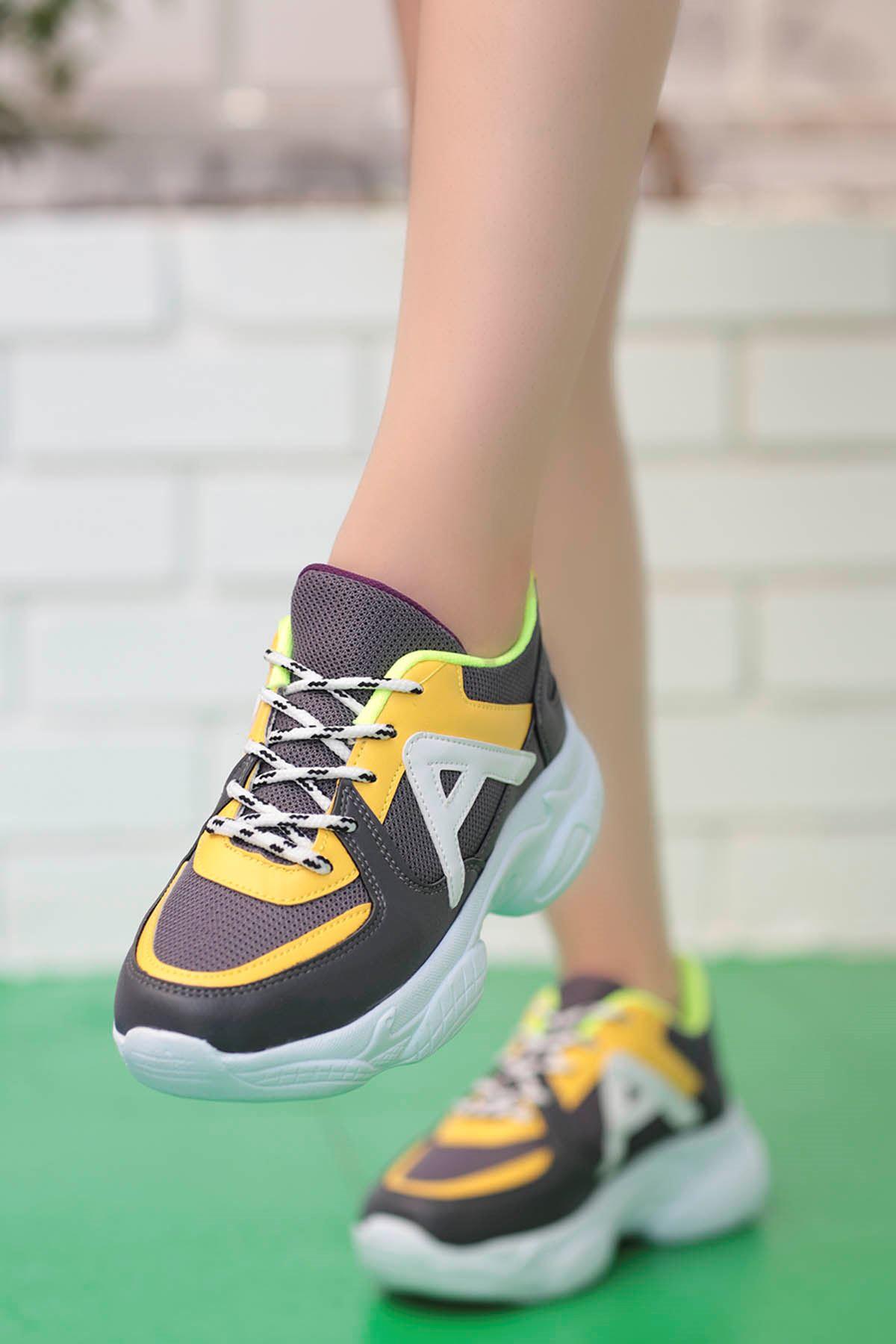 Afra A Detay Spor Ayakkabı Gri Sarı Detay