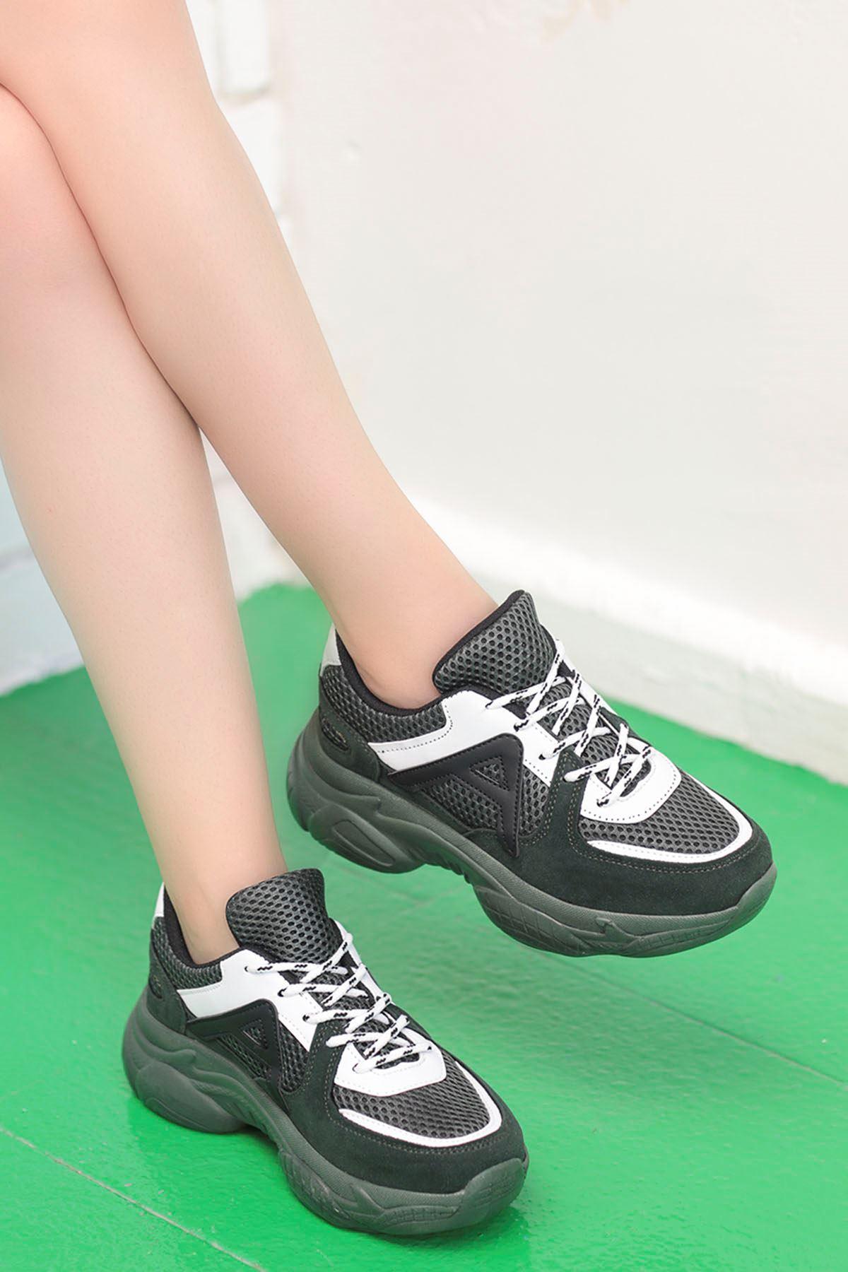 Afra A Detay Spor Ayakkabı Hake Yeşil Beyaz Detay