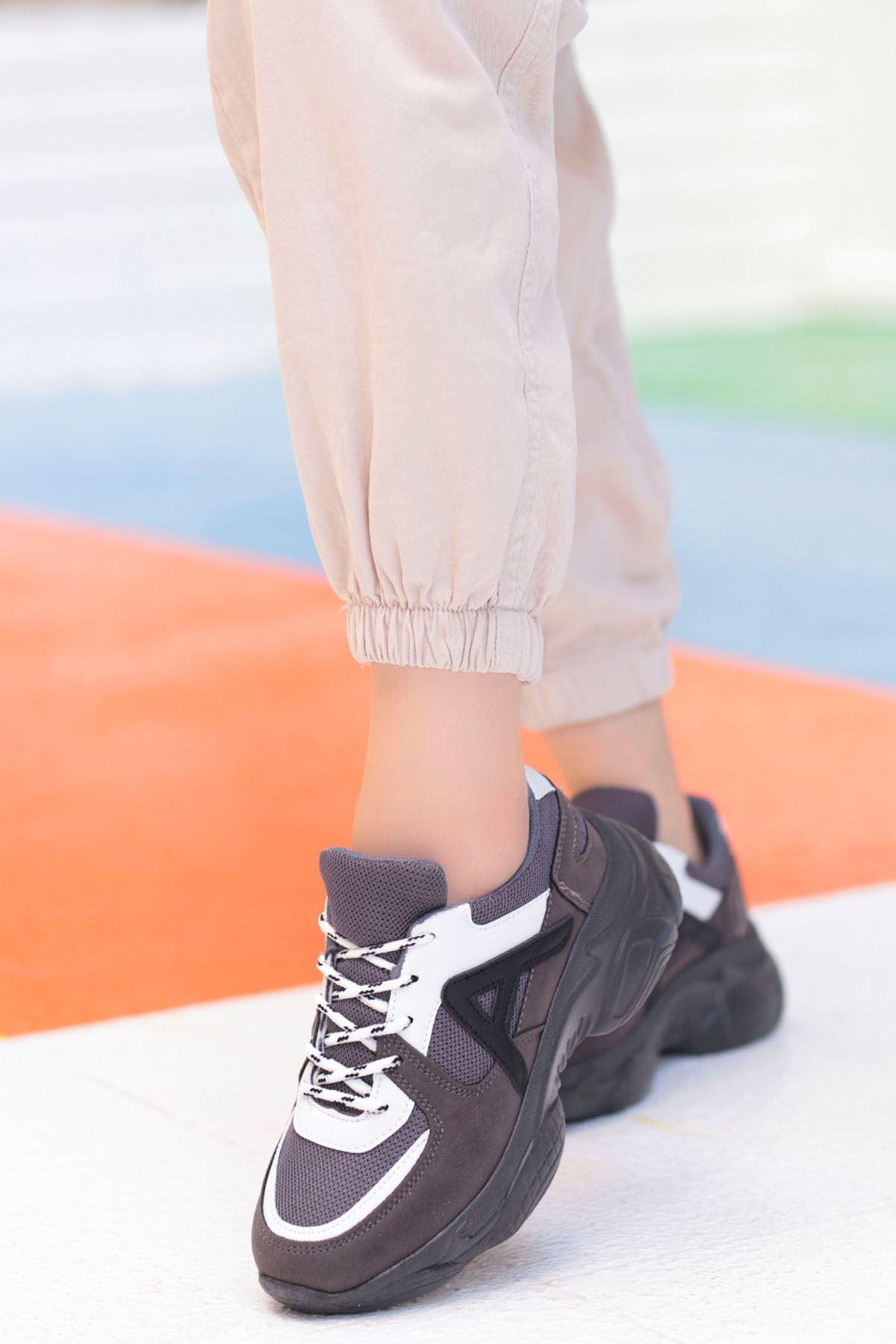 Afra A Detay Spor Ayakkabı Gri Beyaz Detay