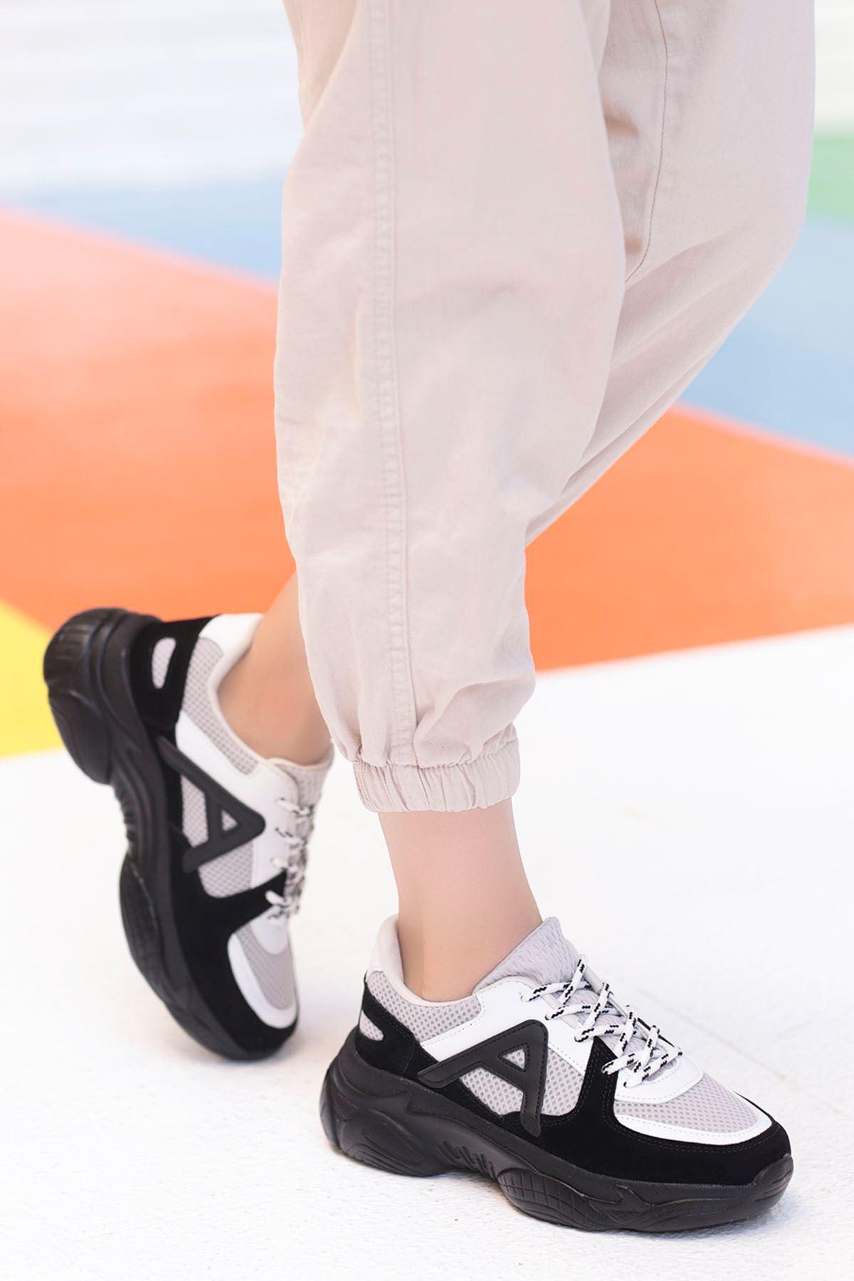 Afra A Detay Spor Ayakkabı Siyah Gri Detay