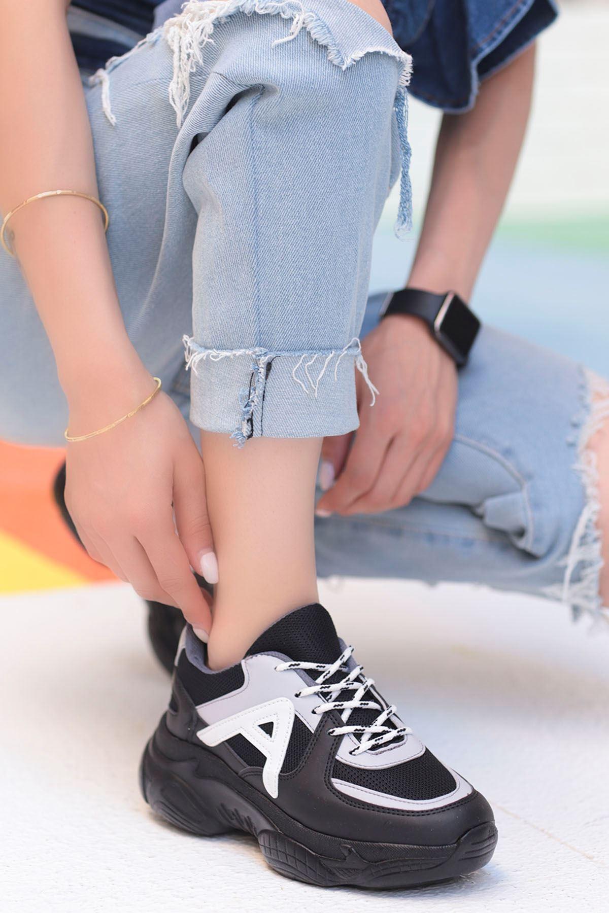 Afra A Detay Spor Ayakkabı Siyah Beyaz Detay