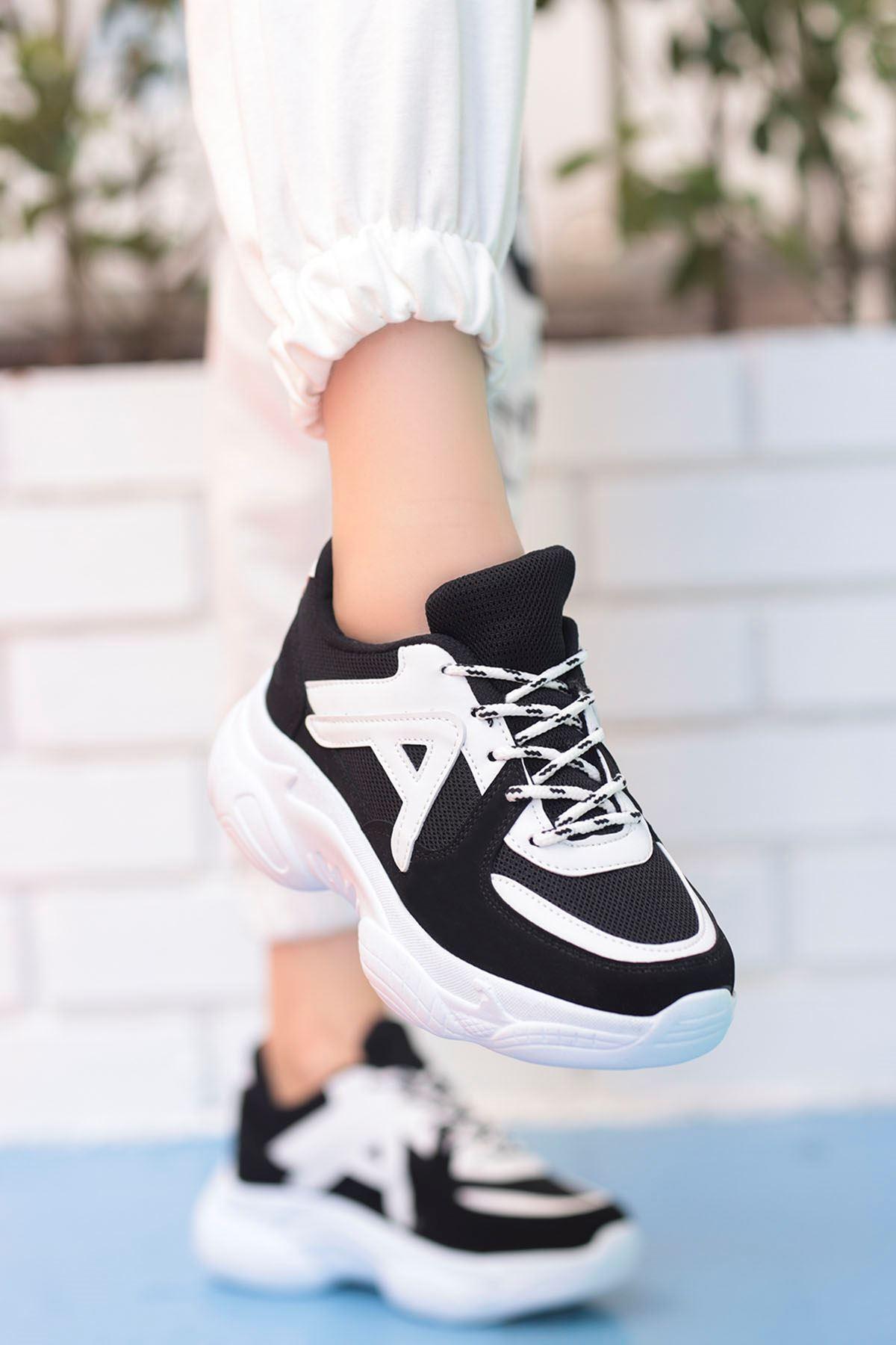 Afra A Detay Spor Ayakkabı Siyah Beyaz Taban