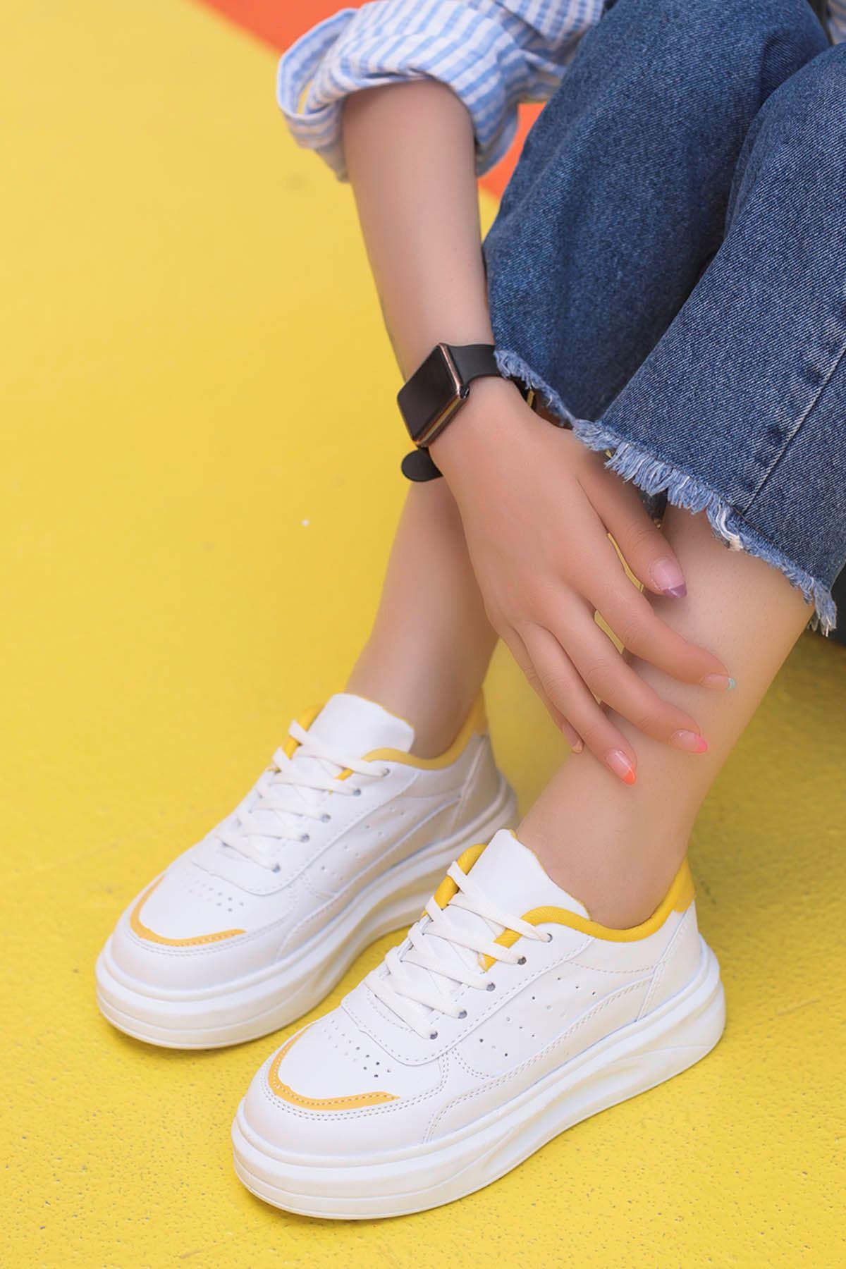 Beatrix Tabanlı Spor Ayakkabı Beyaz Sarı Detay